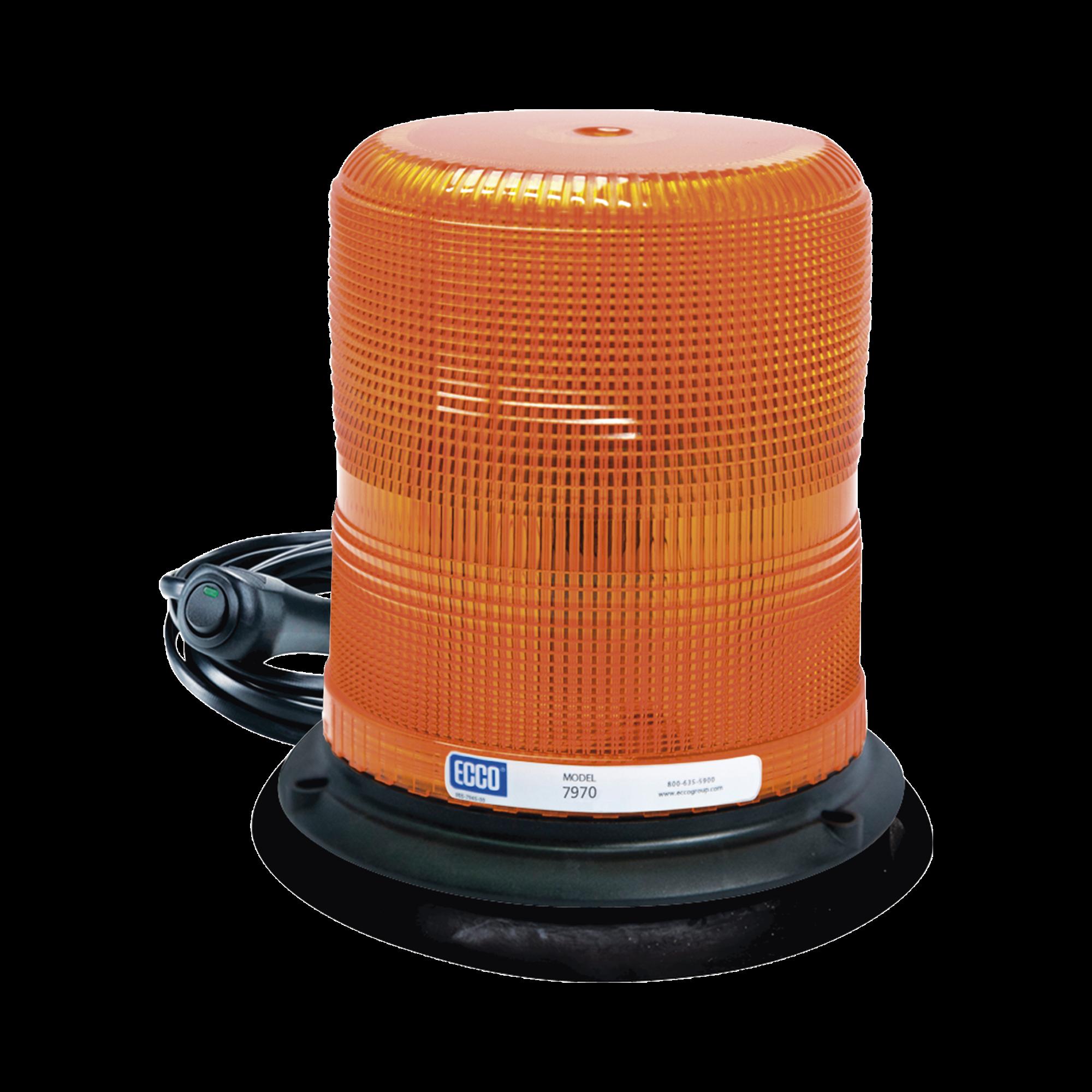 Baliza LED color ámbar con montaje magnético de succión DE 7 de altura
