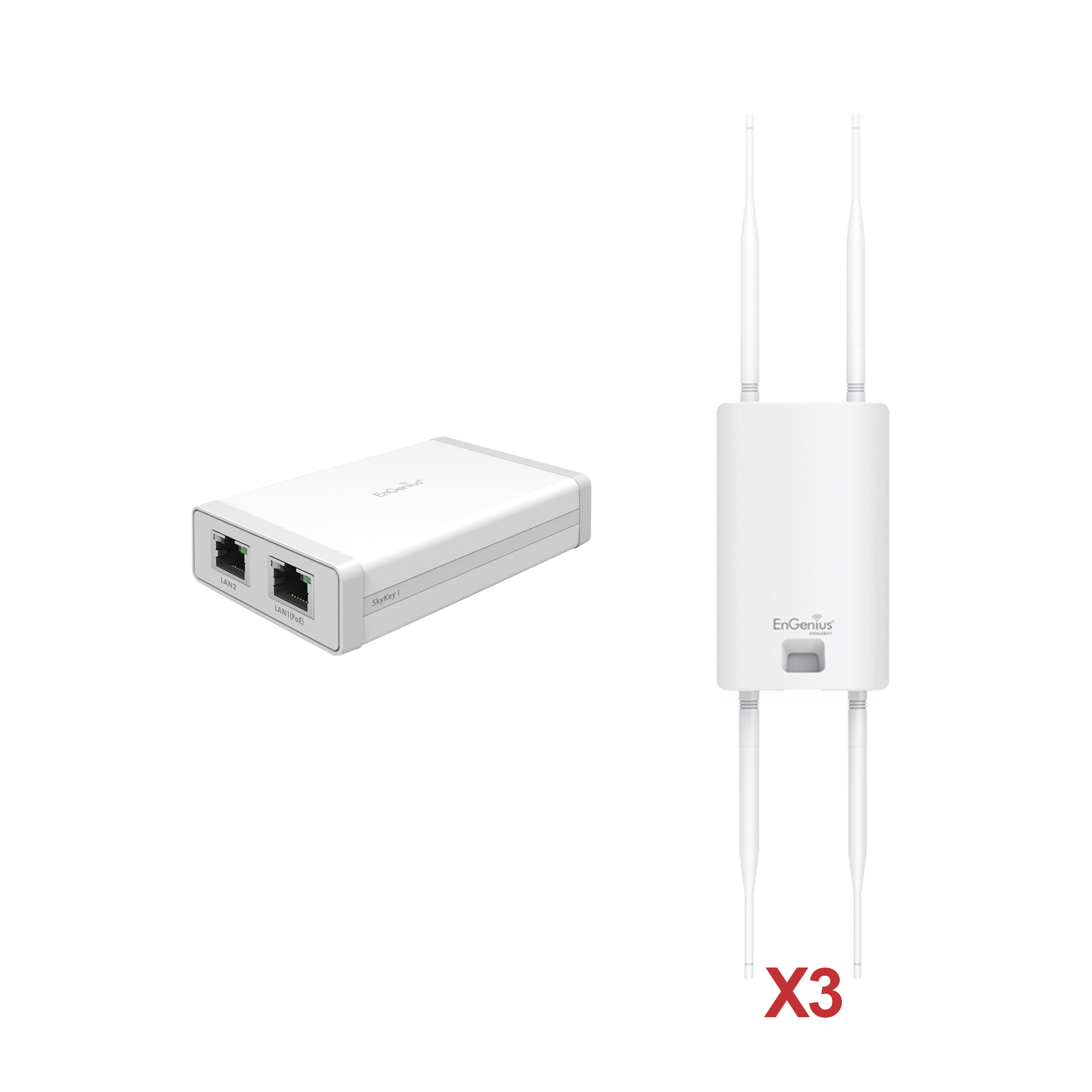 Paquete de 3 Puntos de Acceso Exterior Wi-Fi 5 ENS620EXT + 1 Controlador SKYKEY-1 ?Sin Costo?para la Gestión Local o Remota de Hasta 100 Puntos de Acceso EnGenius