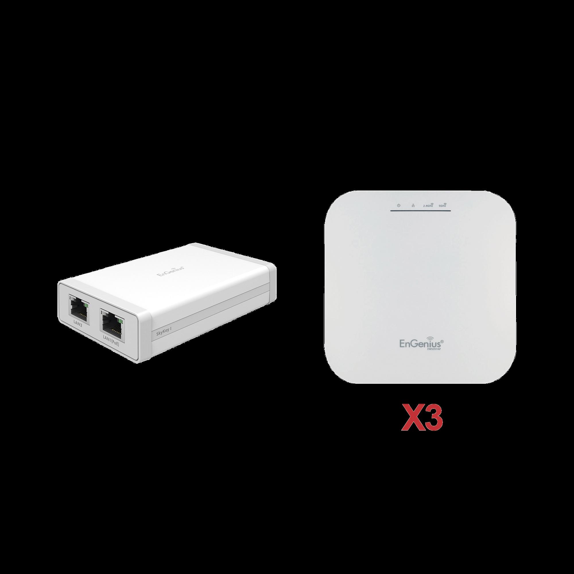 Paquete de 3 Puntos de Acceso Wi-Fi 6 EWS357AP  + 1 Controlador SKYKEY-1 ?Sin Costo?para la Gestión Local o Remota de  Hasta 100 Puntos de Acceso EnGenius
