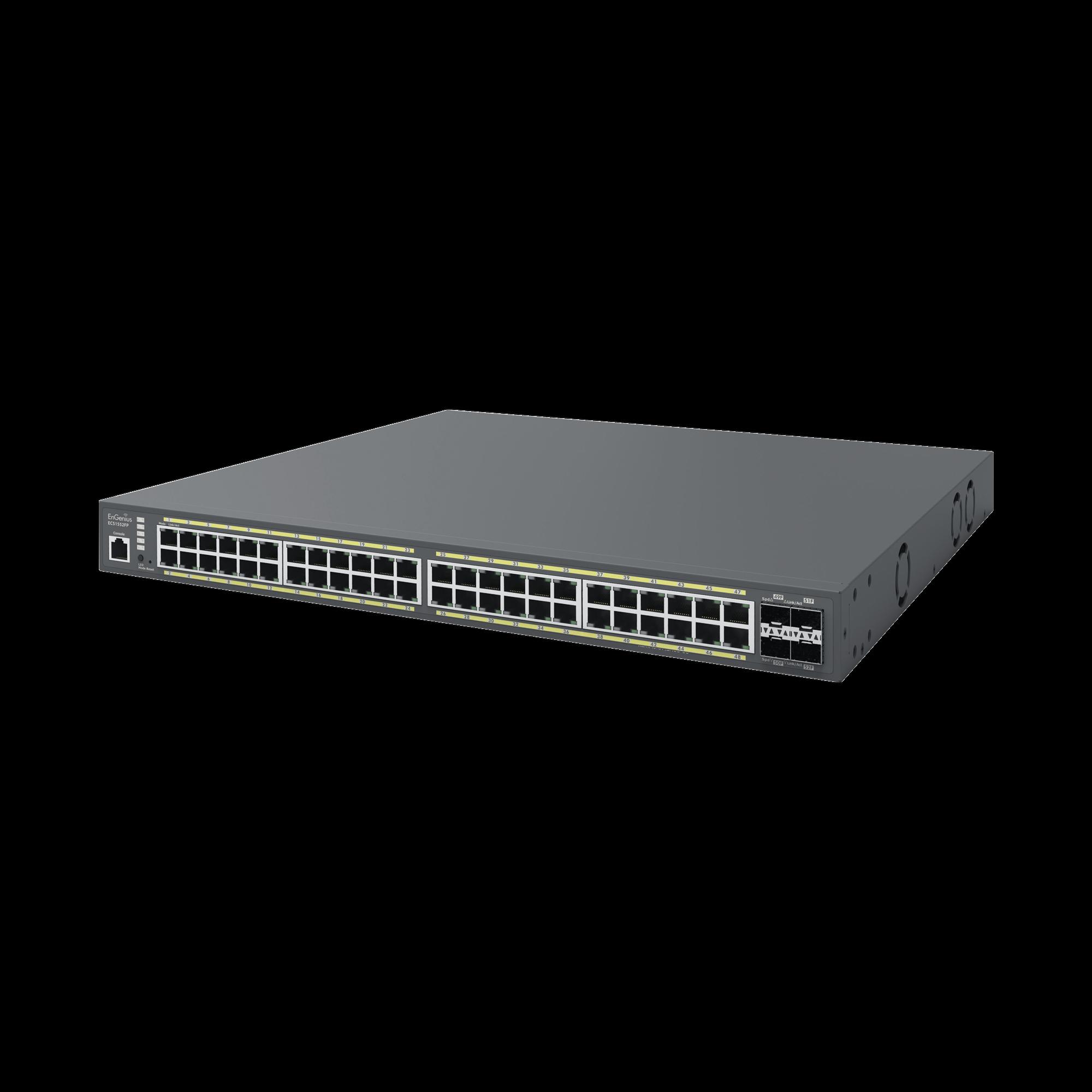 Switch Poe de 48 Puertos Gigabit y 4 Puertos SFP, Administrable en la Nube, Hasta 740 W, Capa 2, Soporta PoE+ 802.3  at/af
