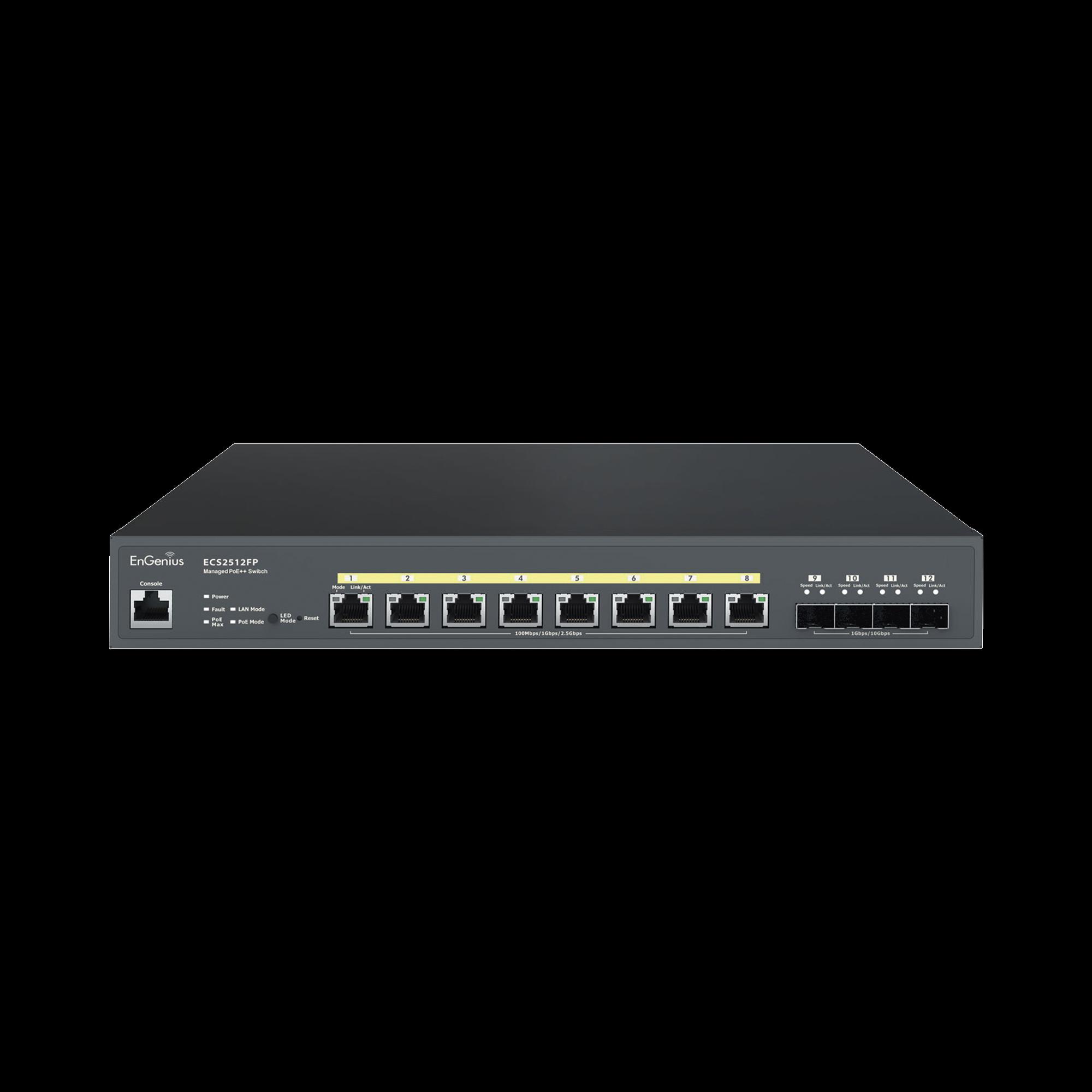 Switch PoE ++ Administrable en Nube Capa 2  de 8 puertos PoE  de 2.5 Gbps, Hasta 240 W, 4 puertos de SFP