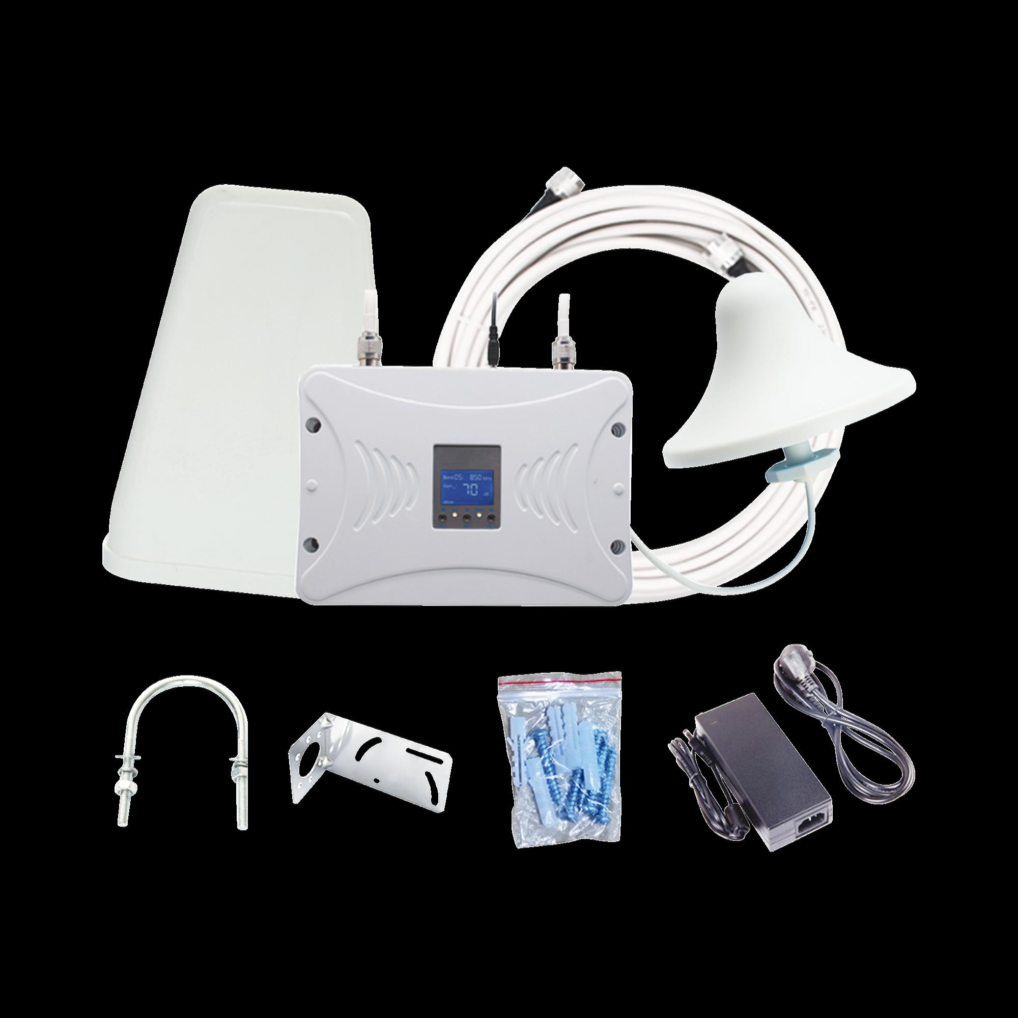 Kit Amplificador de Señal Celular 4.5G, 2600 MHz | Funciona con Todos los Operadores | Soporta Múltiples Dispositivos y Tecnologías | Hasta 1000 metros cuadrados de Cobertura