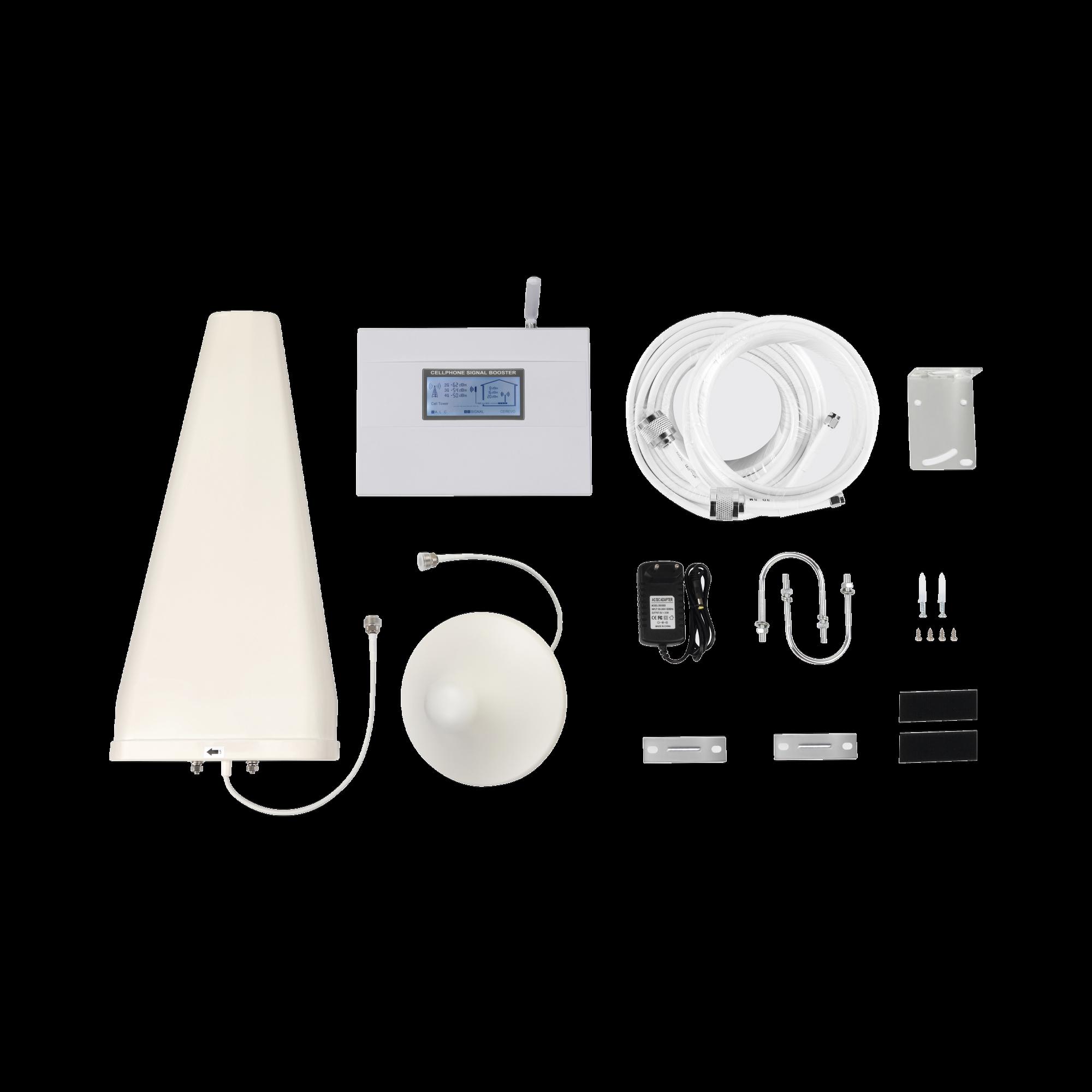 Kit de Amplificador de Señal Celular | Doble Banda | Mejora las Llamadas, Soporta 3G y *4G LTE | 70 dB de Ganancia Máxima, cubre áreas de hasta 500 metros cuadrados.