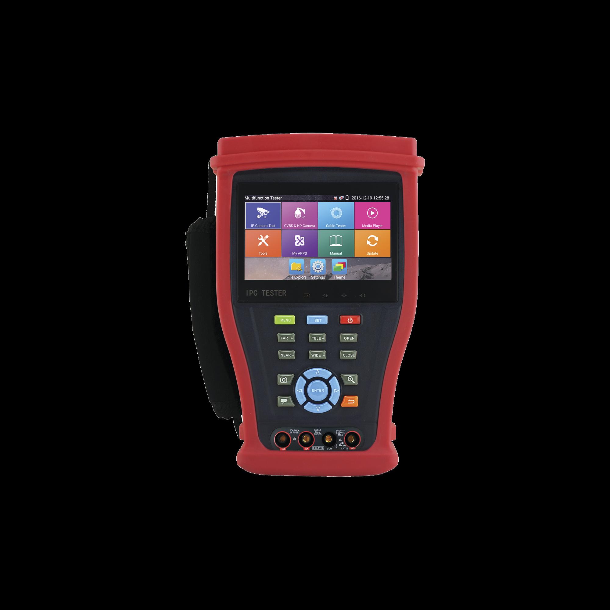 Probador de Video Android con Pantalla LCD de 4.3 para IP 4K / HD-TVI (8MP), HD-CVI (8MP), AHD (5MP) / Multímetro Digital, HDMI Entrada/ Salida, WiFi