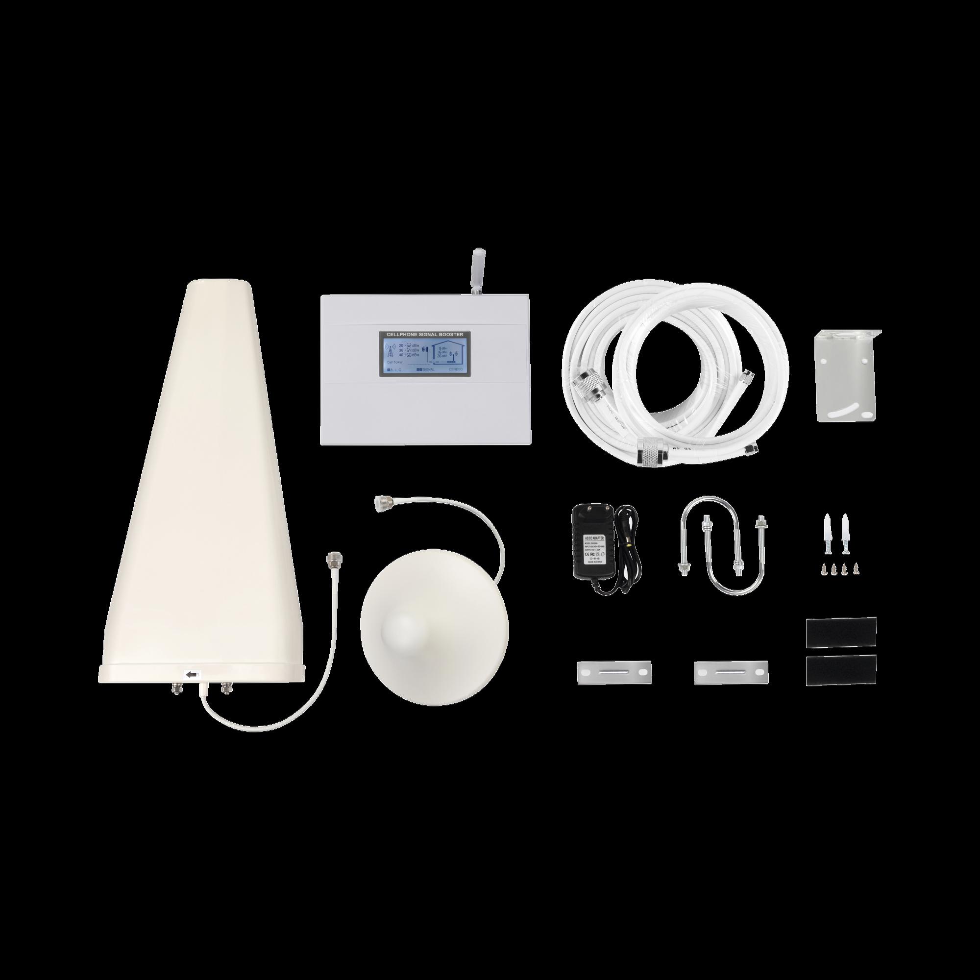 Kit Amplificador de Señal Celular 4G LTE | Funciona con Todos los Operadores | Soporta Múltiples Dispositivos y Tecnologías | Hasta 500 metros cuadrados de Cobertura