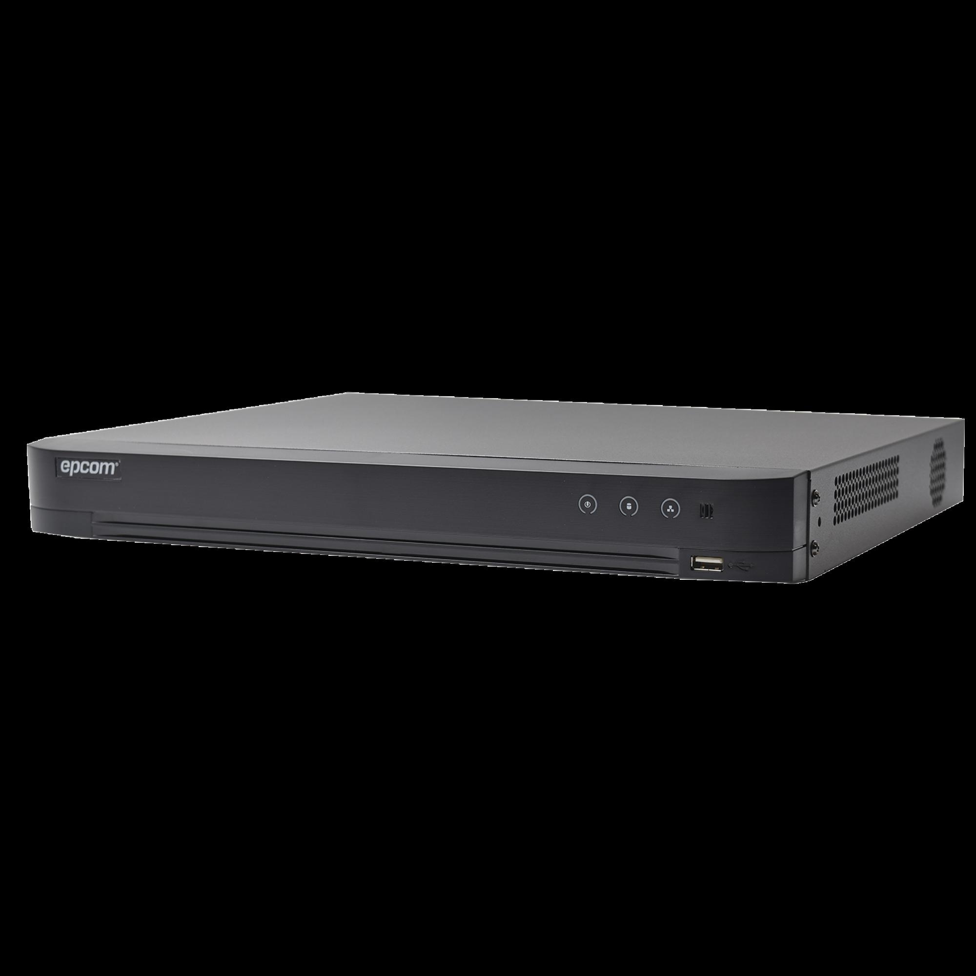 DVR 4 Megapixel / 16 Canales TURBOHD + 8 Canales IP / Detección de Rostros / 1 Bahía de Disco Duro / 16 Canales de Audio