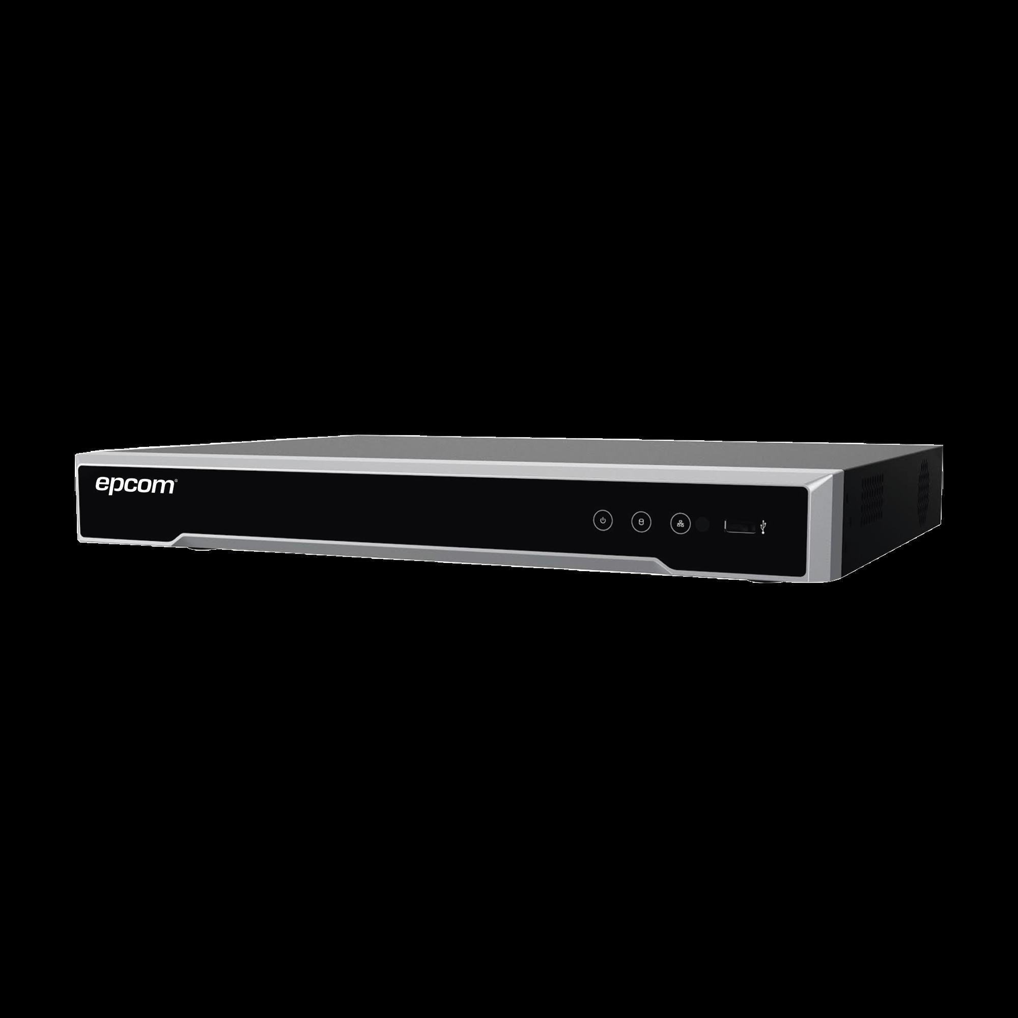 DVR 8 Megapixel / 8 Canales 4K TURBOHD + 8 Canales IP / 1 Bahía de Disco Duro / 4 Canales de Audio / Audio por coaxitron / 8 Entradas de alarma / Vídeoanálisis