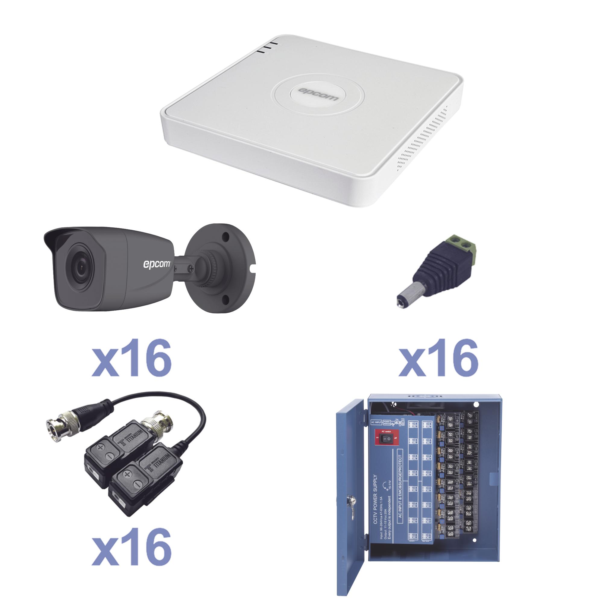 KIT TurboHD 720p / Incluye DVR 16 Ch / 16 cámaras balas (interior - exterior 3.6 mm) / Transceptores / Conectores / Fuente de poder profesional