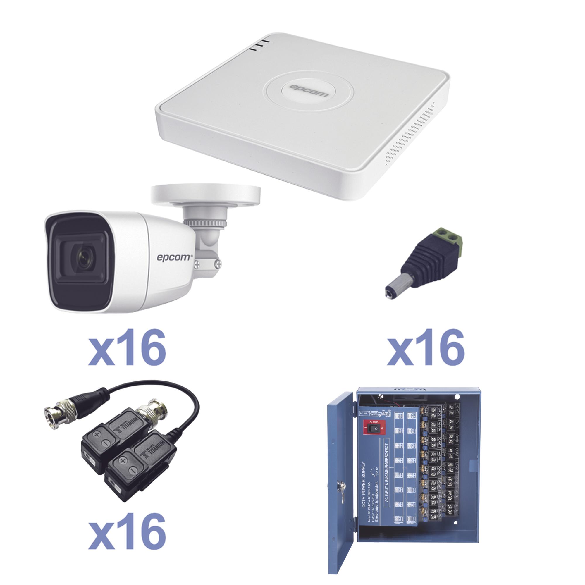 KIT TurboHD 720p / Incluye DVR 16 Ch / 16 cámaras balas (interior - exterior 3.6 mm) / Transceptores / Conectores / Fuente de poder profesional Heavy Duty 20A, Hasta 15Vcd para Larga Distancia