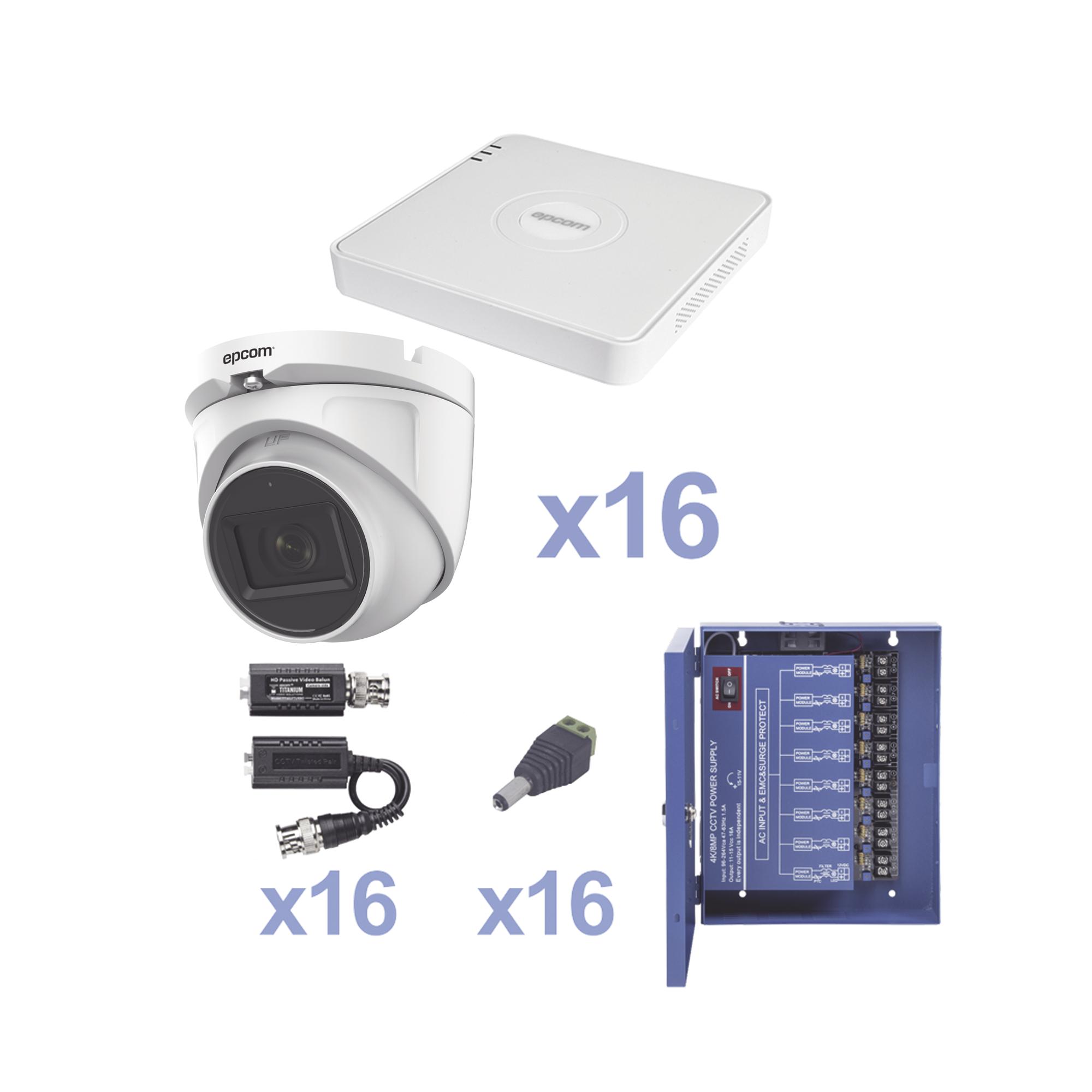 KIT TurboHD 720p / Incluye DVR 16ch / 16 cámaras domo 2.8mm / Transceptores / Conectores / Fuente de poder profesional Heavy Duty 20A, Hasta 15Vcd para Larga Distancia.