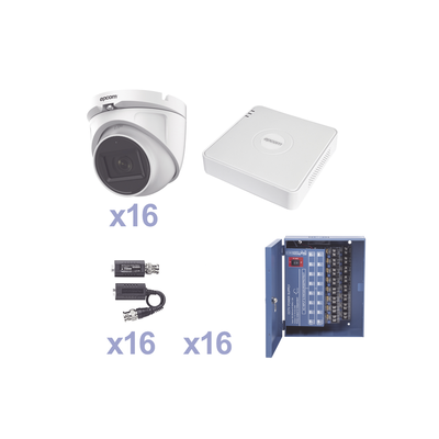 KIT TurboHD 1080p Lite / DVR 16 Canales / 16 Cámaras Eyeball  Exterior ( 2.8mm) / Transceptores / Conectores / Fuente de Poder Profesional