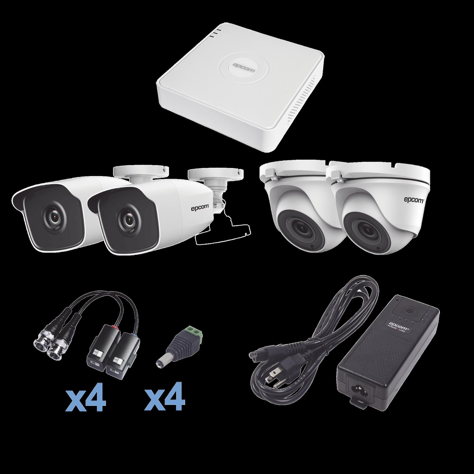 Sistema TURBOHD 720p / DVR 4 Canales / 2 Cámaras Bala (exterior 2.8 mm) / 2 Cámaras Eyeball (exterior 2.8 mm) / Transceptores / Conectores / Fuente de Poder Profesional