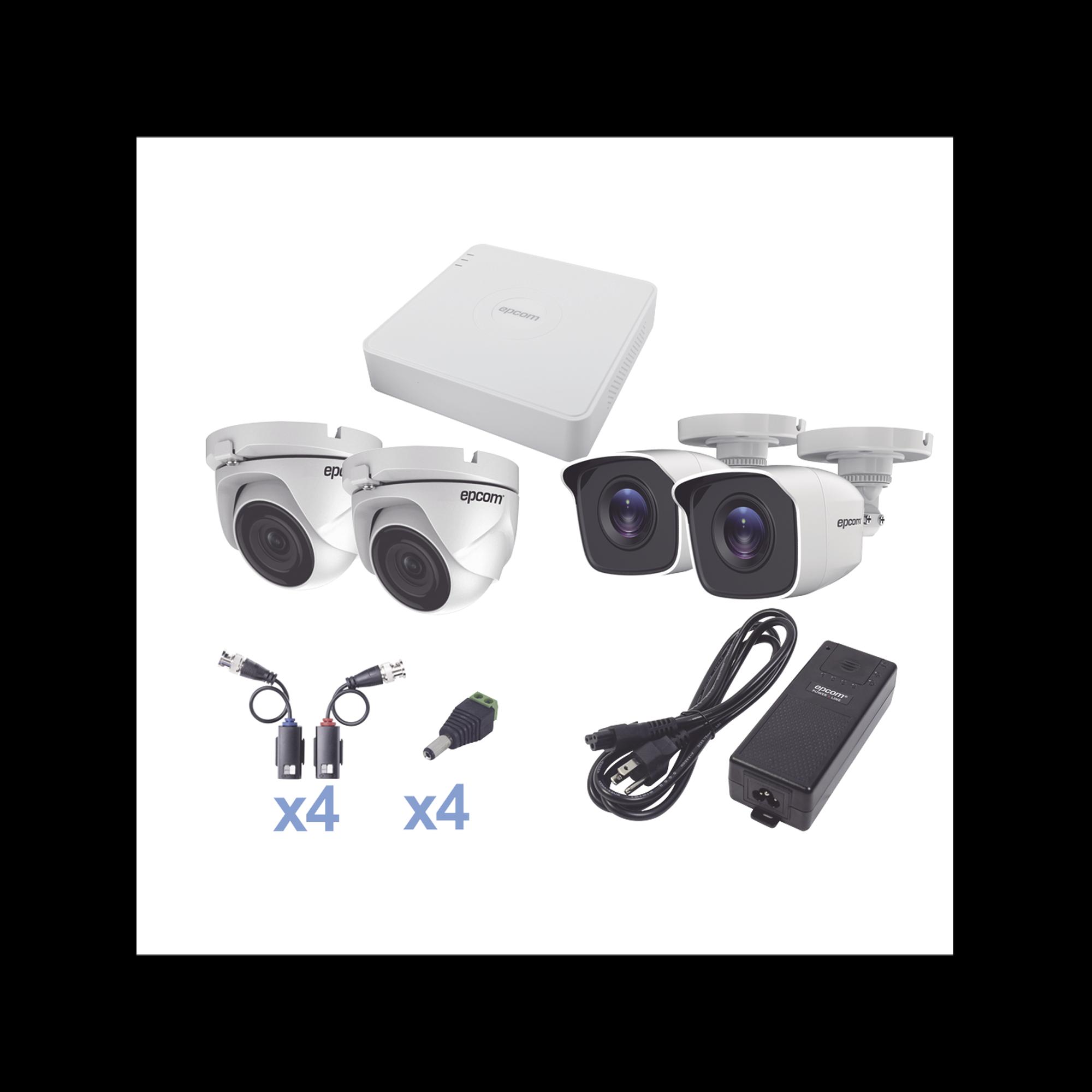 KIT TurboHD 720p / DVR 4 Canales / 2 Cámaras Bala (exterior 2.8 mm) / 2 Cámaras Eyeball (exterior 2.8 mm) / Transceptores / Conectores / Fuente de Poder Profesional