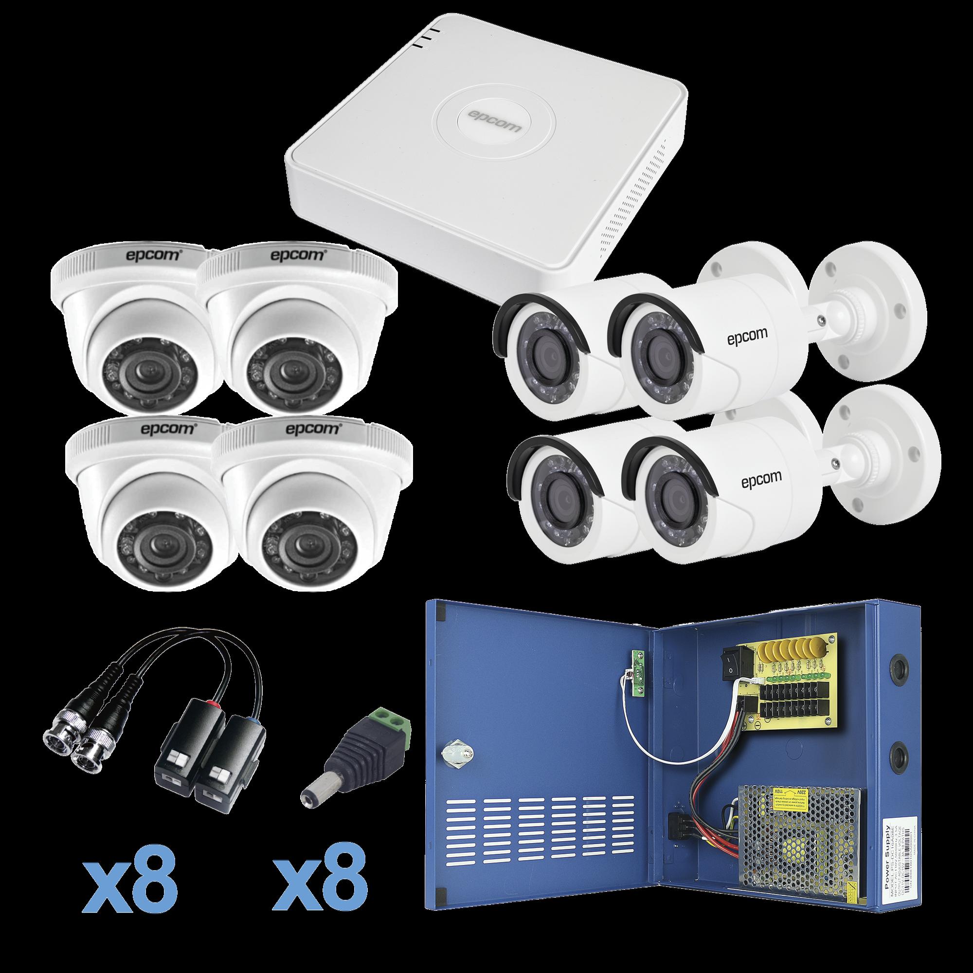 Sistema TURBO HD720p / DVR 8 Ch / 4 Cámaras Bullet ( exterior 3.6 mm ) / 4 Cámaras Eyeball (interior 3.6mm ) / Transceptores / Conectores / Fuente de Poder Profesional