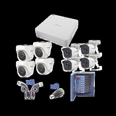 KIT TurboHD 720p / DVR 8 Ch / 4 Cámaras Bullet ( exterior 3.6 mm ) / 4 Cámaras Eyeball (interior 2.8mm ) / Transceptores / Conectores / Fuente de Poder Profesional
