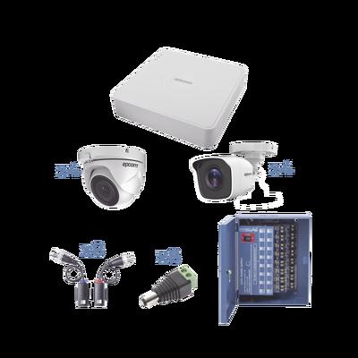 KIT TurboHD 720p / Incluye DVR 8Ch / 4 Cámaras Bullet (exterior 3.6 mm) / 4 Cámaras Domo (interior 2.8 mm) / Transceptores / Conectores / Fuente de poder profesional, Hasta 15 Vcd para Larga Distancias