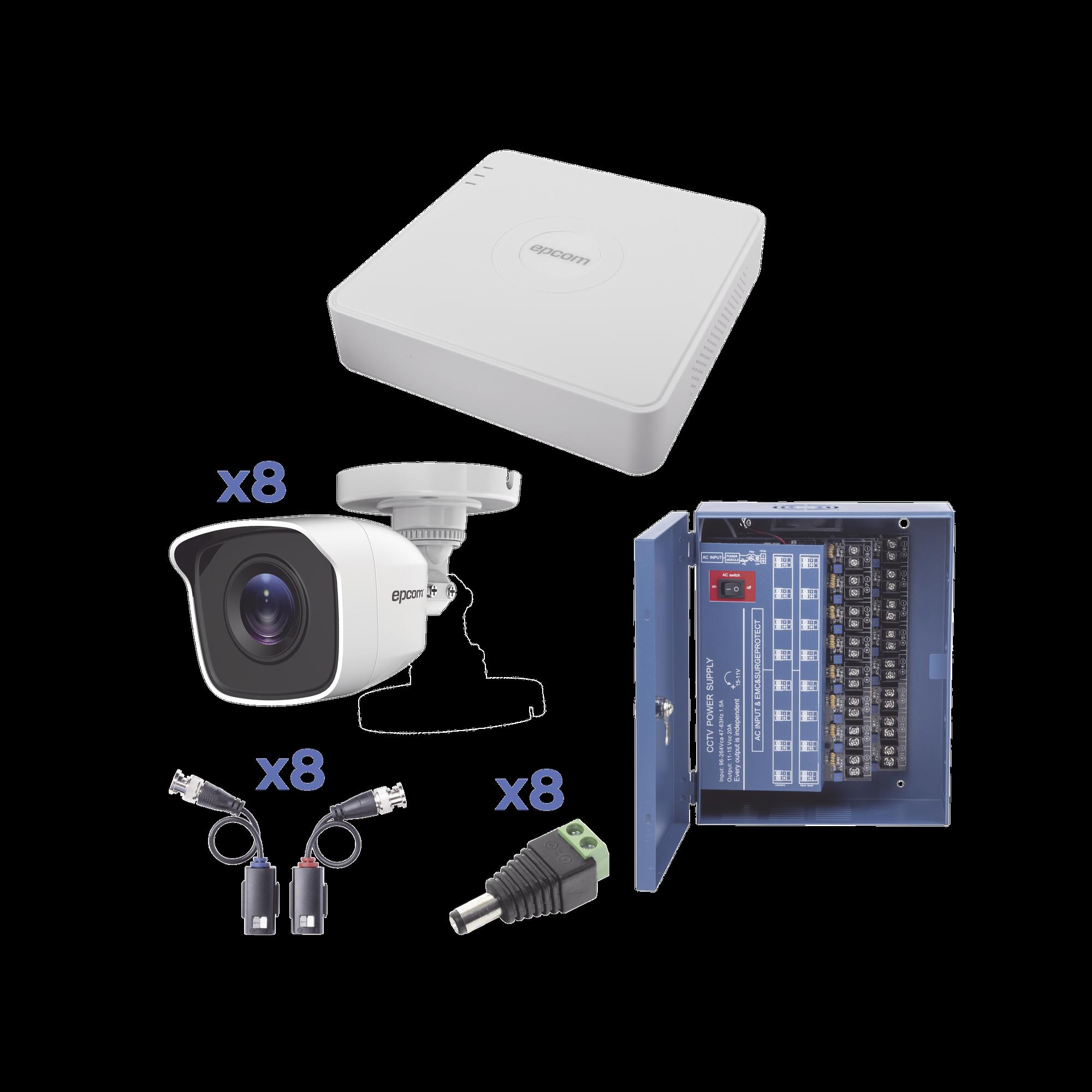 KIT TurboHD 720p / Incluye DVR 8 Ch / 8 Cámaras Balas (exterior 2.8 mm) / Conectores / Transceptores / Fuente de Poder Profesional hasta 15 Vcd para Larga Distancia