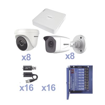 KIT TurboHD 720p / DVR 16 Canales / 8 Cámaras Bala (exterior 3.6 mm) / 8 Cámaras Eyeball (interior 3.6 mm) / Transceptores / Conectores / Fuente Heavy Duty 20A, Hasta 15Vcd para Larga Distancias