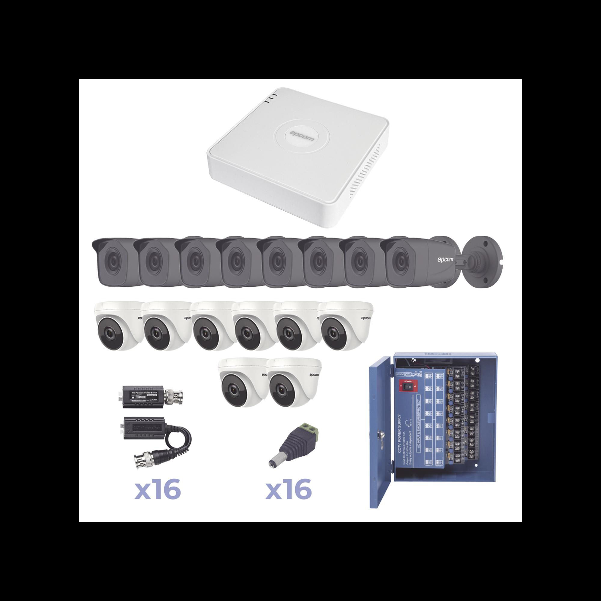 KIT TurboHD 720p / DVR 16 Canales / 8 Cámaras Bala (exterior, gran angular) / 8 Cámaras Eyeball / Transceptores / Conectores / Fuente de poder profesional Heavy Duty 20A, Hasta 15Vcd para Larga Distancia