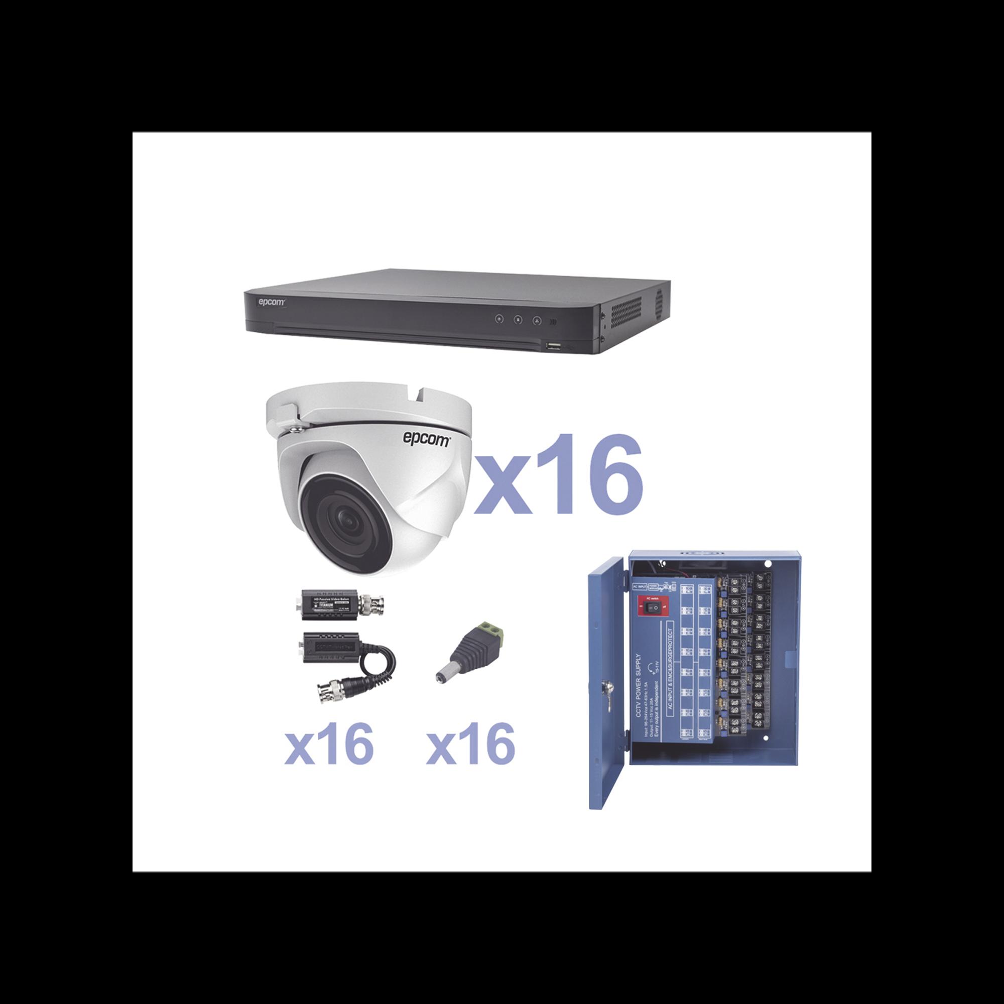 KIT TurboHD 1080p / DVR 16 Canales / 16 Cámaras Eyeball (exterior 2.8 mm) / Transceptores / Conectores / Fuente de Poder Profesional