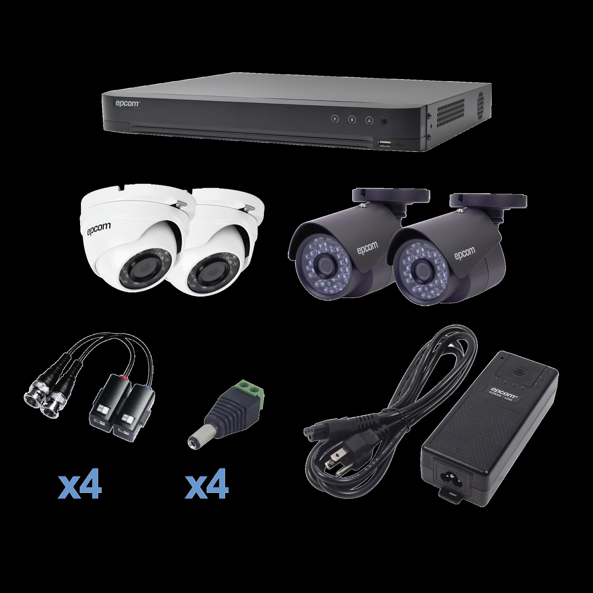 Sistema TURBOHD 1080p / DVR 4 Canales / 2 Cámaras Bala (exterior 2.8 mm)  / 2 Cámaras Eyeball (exterior 2.8 mm) / Transceptores / Conectores / Fuente de Poder Profesional