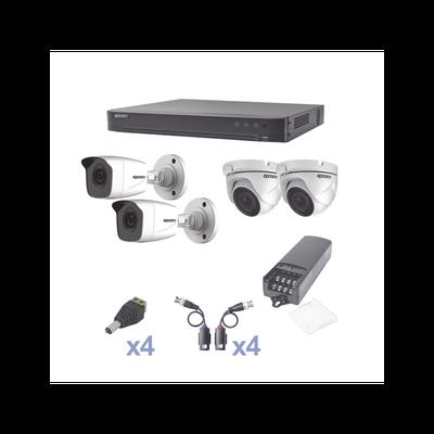 KIT TurboHD 1080p / DVR 4 Canales / 2 Cámaras Bala (exterior 2.8 mm)  / 2 Cámaras Eyeball (exterior 2.8 mm) / Transceptores / Conectores / Fuente de Poder Profesional