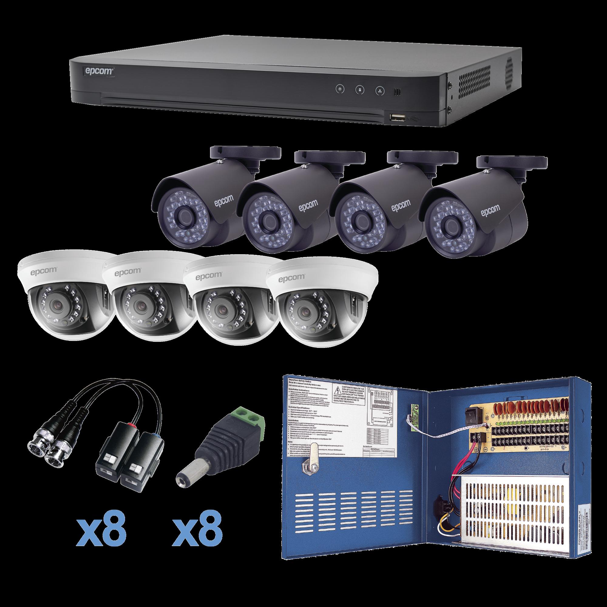 Sistema TURBOHD 1080p / DVR 8 Canales / 4 Cámaras Bala (exterior 2.8 mm) / 4 Cámaras Domos (interior 2.8 mm) / Transceptores / Conectores / Fuente de Poder Profesional hasta 15 Vcd para Larga Distancia