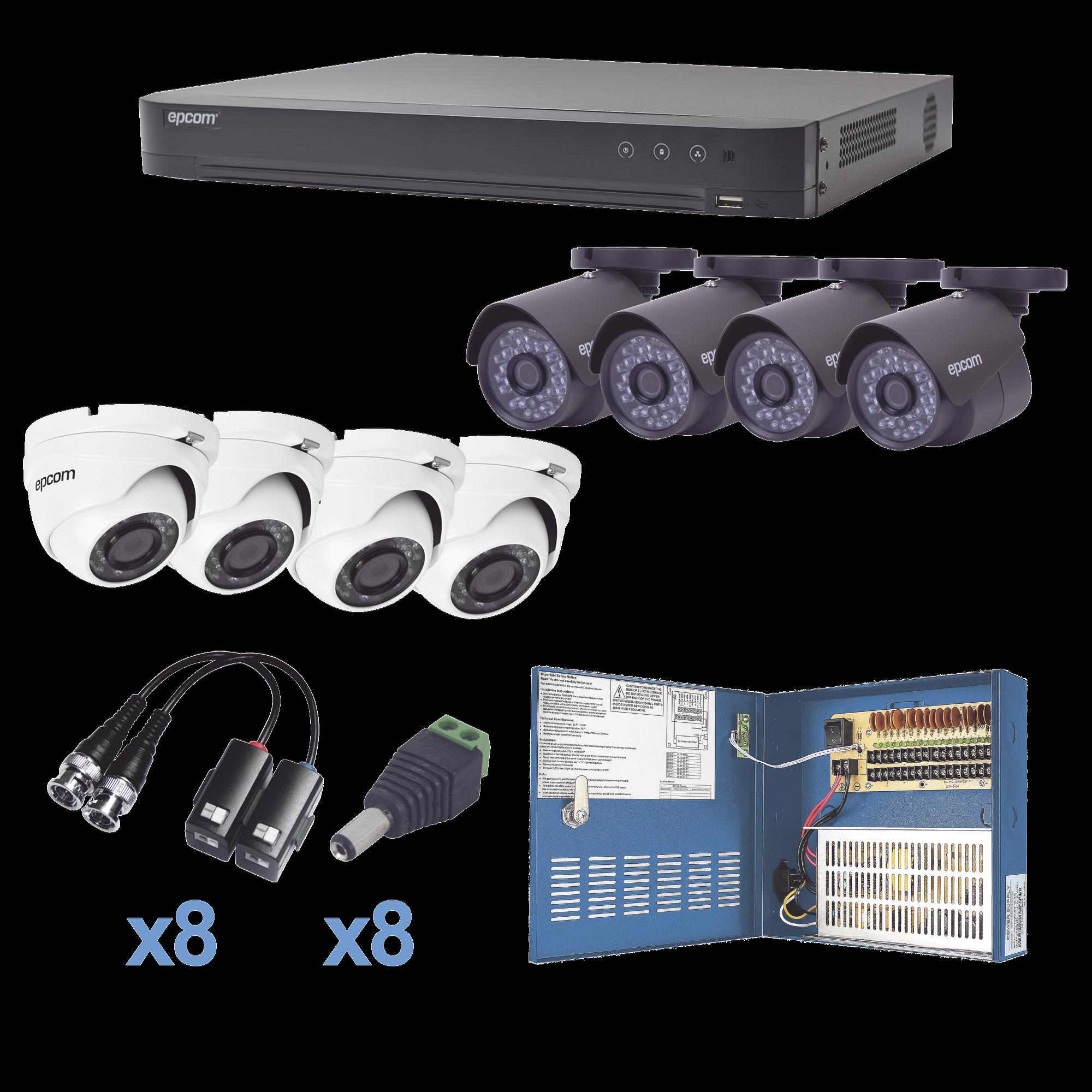 Sistema TURBOHD 1080p / DVR 8 Canales / 4 Cámaras Bala (exterior 2.8 mm) / 4 Cámaras Eyeball (exterior 2.8 mm) / Transceptores / Conectores / Fuente de Poder Profesional hasta 15 Vcd para Largas Distancias