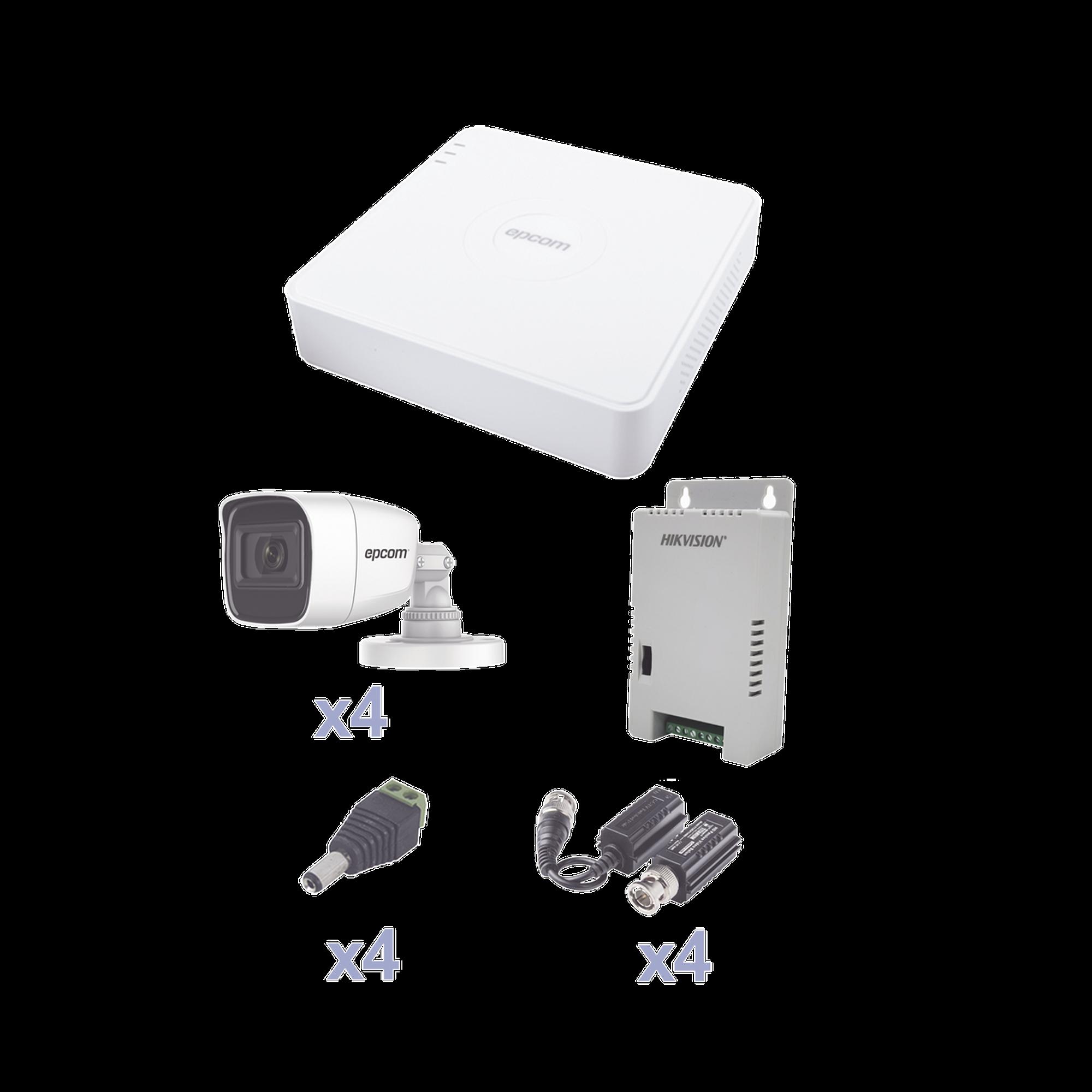 KIT TurboHD con Audio 1080p / DVR 4 Canales / 4 Cámaras Bala (exterior 2.8 mm) / Transceptores / Conectores / Fuente de Poder / AUDIO POR COAXITRON