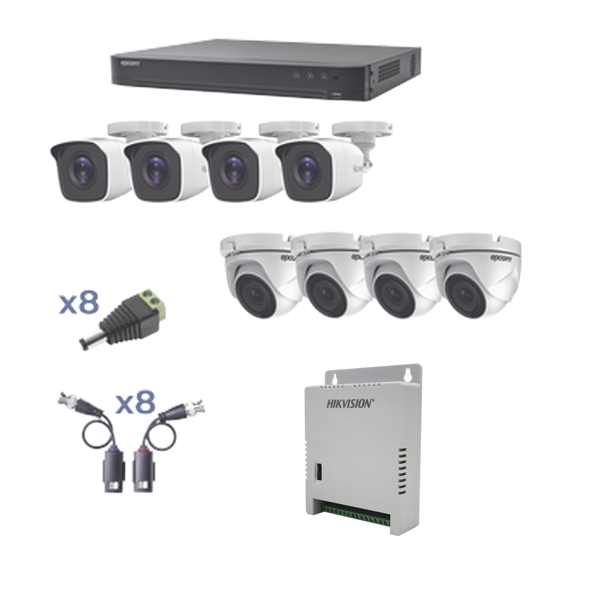 KIT TurboHD 1080p / DVR 8 Canales / 4 Cámaras Bala (exterior 2.8 mm) / 4 Cámaras Eyeball (exterior 2.8 mm) / Transceptores / Conectores / Fuente de Poder Profesional hasta 15 Vcd para Largas Distancias