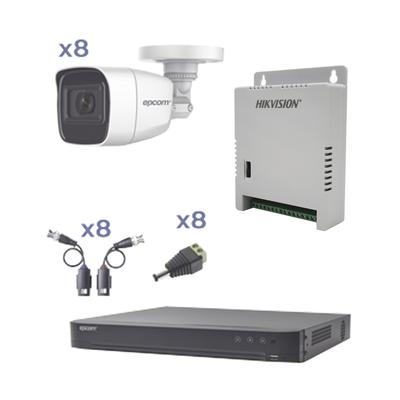 KIT TurboHD con Audio 1080p / DVR 8 Canales / 8 Cámaras Bala (exterior 2.8 mm) / Transceptores / Conectores / Fuente de Poder / AUDIO POR COAXITRON