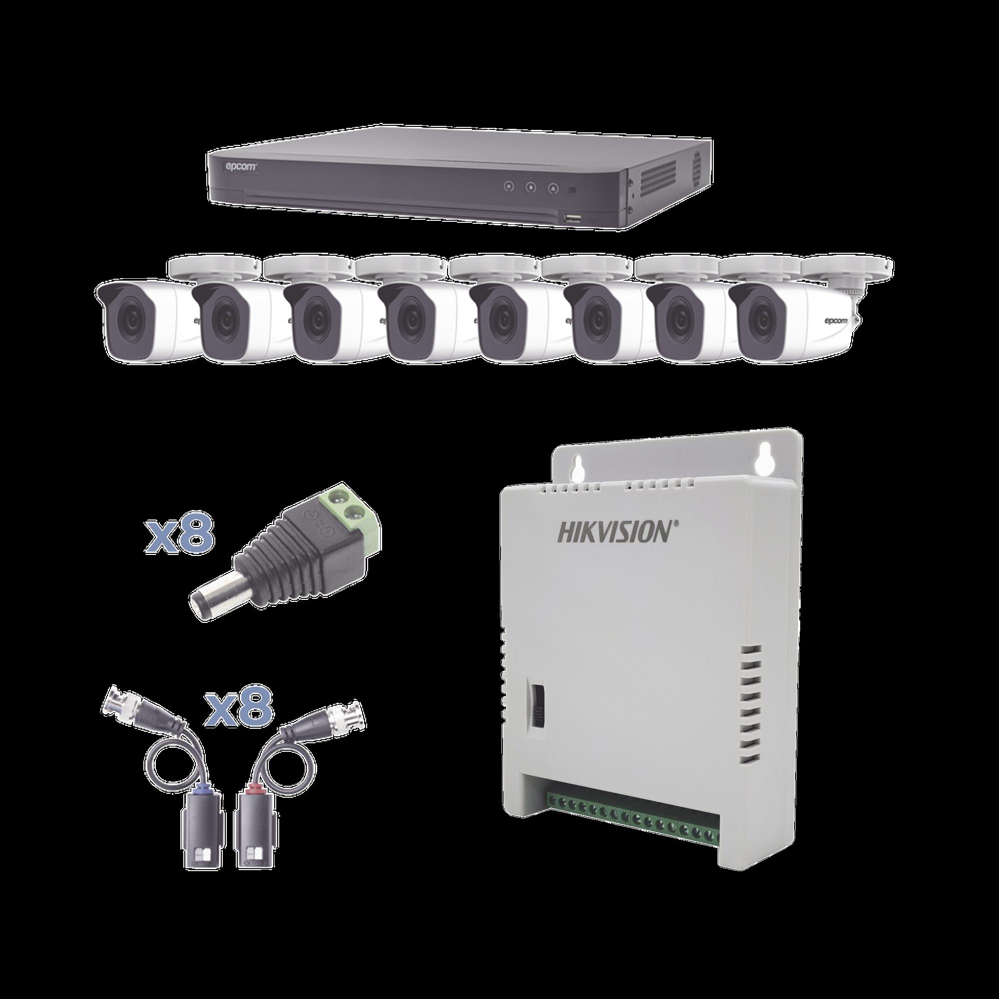 KIT TurboHD 1080p / DVR 8 Canales / 8 Cámaras Bala (exterior 2.8 mm) / Transceptores / Conectores / Fuente de Poder Profesional hasta 15 Vcd para Larga Distancias