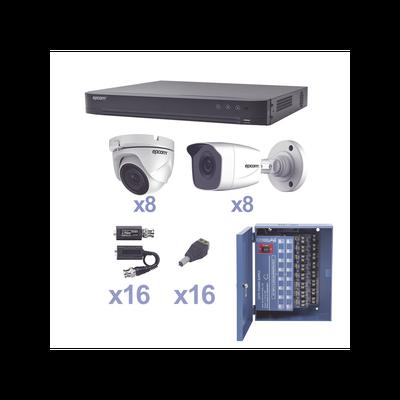 KIT TurboHD 1080p / DVR 16 Canales / 8 Cámaras Bala (exterior 2.8 mm) / 8 Cámaras Eyeball (exterior 2.8 mm) / Transceptores / Conectores / Fuente de Poder Profesional
