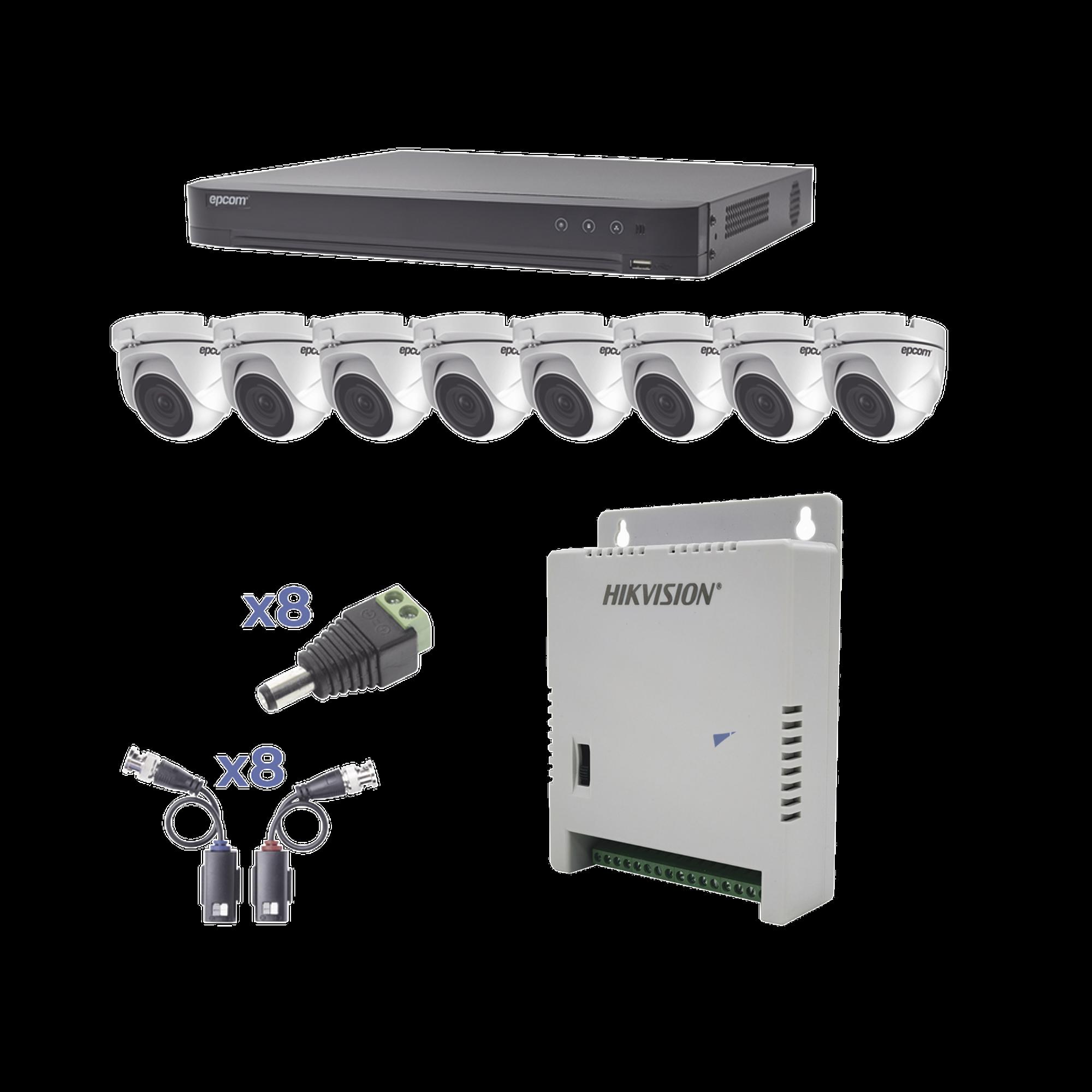 KIT TurboHD 1080p / DVR 8 Canales / 8 Cámaras Eyeball (exterior 2.8 mm) / Transceptores / Conectores / Fuente de Poder Profesional hasta 15 Vcd para Larga Distancia