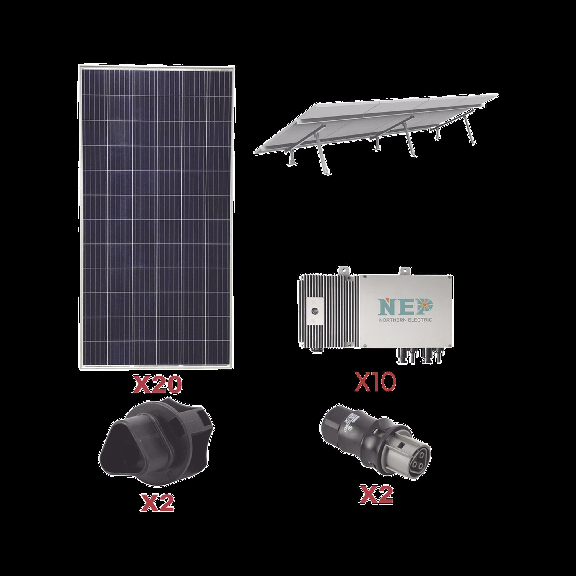 Kit Solar para interconexión de 5.5 kW de Potencia, 110 Vca con Micro Inversores y Paneles Policristalinos