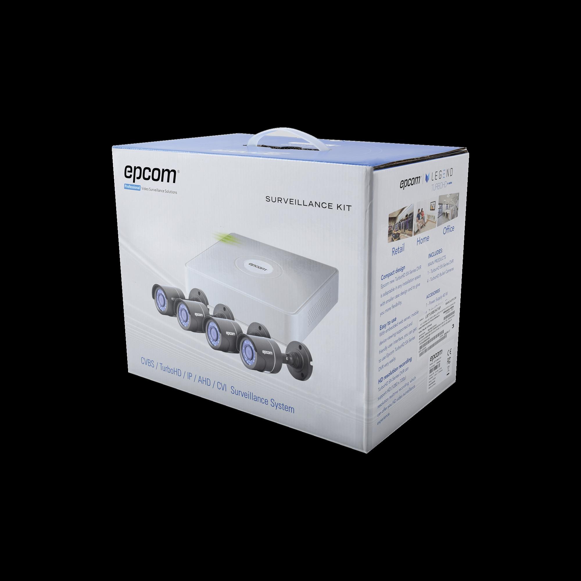 Sistema Completo de CCTV 720p / Hik-Connect / DVR 4 Canales / 4 Cámaras Bala / Cables / Fuente de Poder Profesional