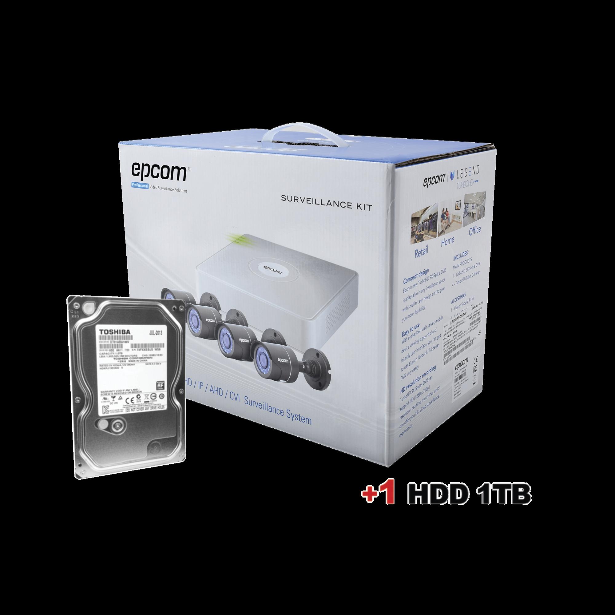 Disco duro 1 TB + Sistema Completo de CCTV 720p  / Hik-Connect / DVR 4 Canales /4 Cámaras Bala / Cables / Fuente de Poder Profesional