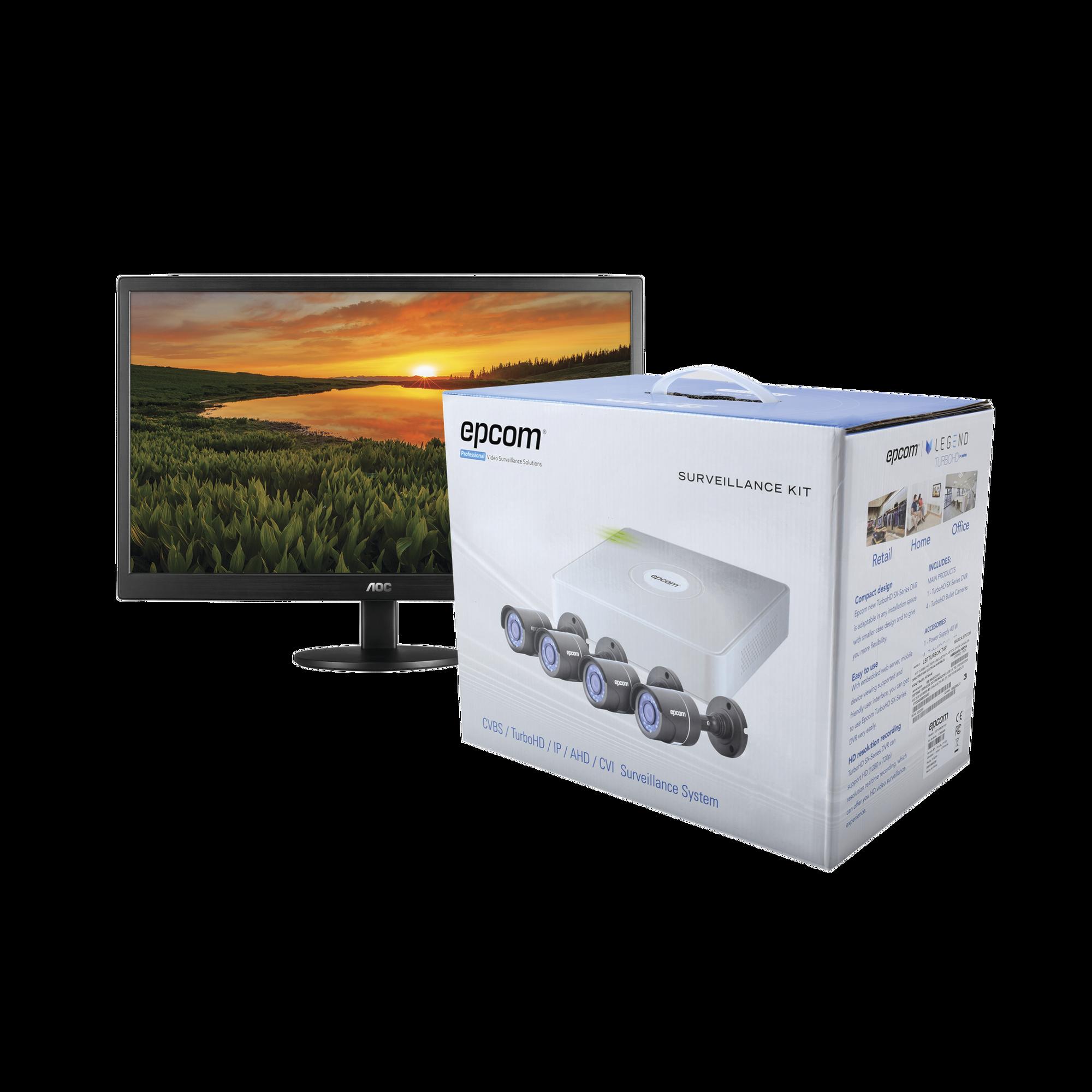 Sistema Completo de CCTV 720p / Hik-Connect / DVR 4 Canales / 4 Cámaras Bala / Cables / Fuente de Poder Profesional + 1 Monitor 16 USB