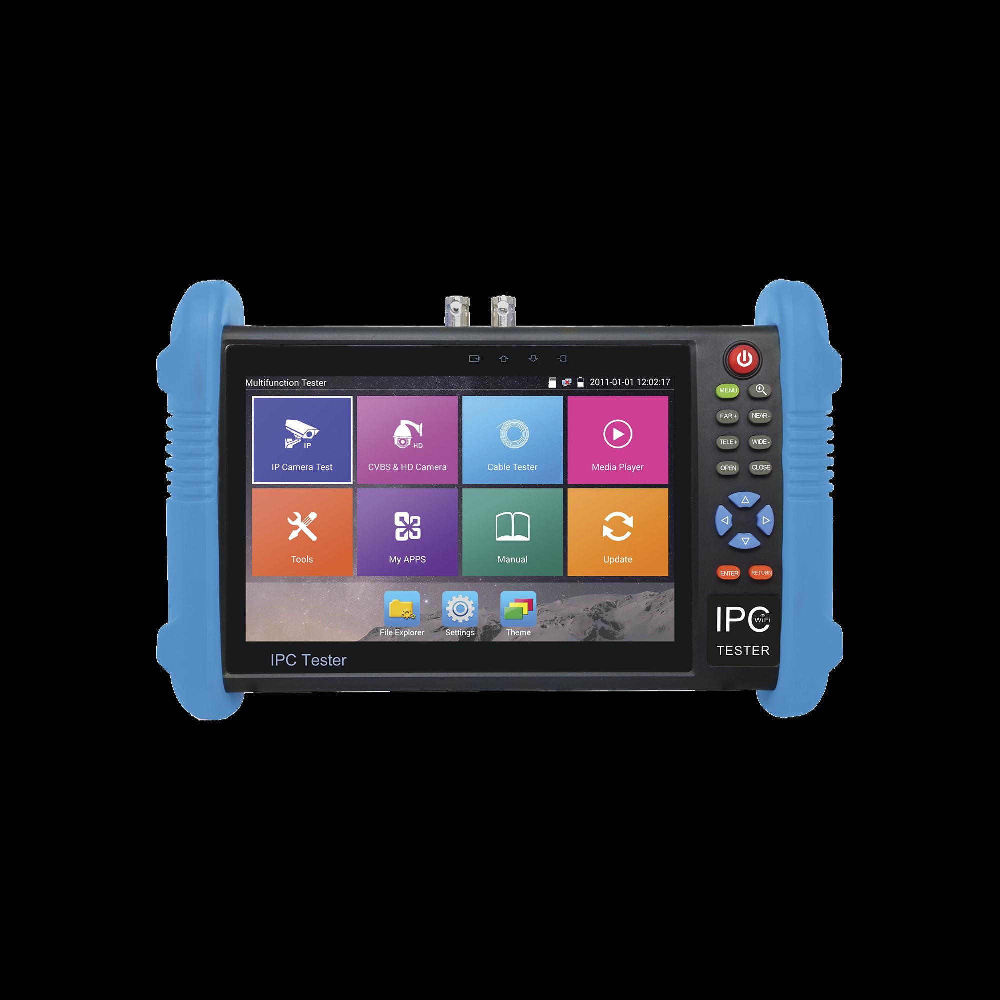 Probador de Vídeo Android con Pantalla LCD de 7 para IP ONVIF / HD-TVI (8MP), HD-CVI (8MP) y AHD (5MP) / Wi-Fi, Scanner IP, WiFi, entrada HDMI