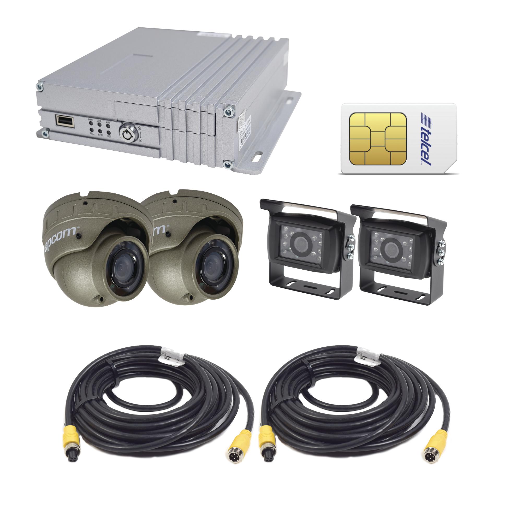 Sistema de videovigilancia móvil AHD todo en uno, incluye MDVR de 4 canales, 2 cámaras para interior AHD, 2 cámaras para exterior AHD e incluye sim de datos Telcel de 10G