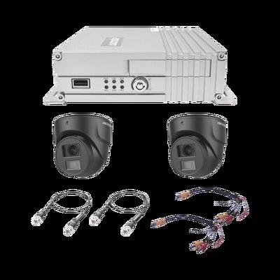 Sistema de videovigilancia móvil AHD todo en uno, incluye MDVR de 4 canales análogos AHD que soporta almacenamiento en memoria SD,  2 cámara domo para interior/ 2 transfercable/ 2 cables coaxial de 1.5m