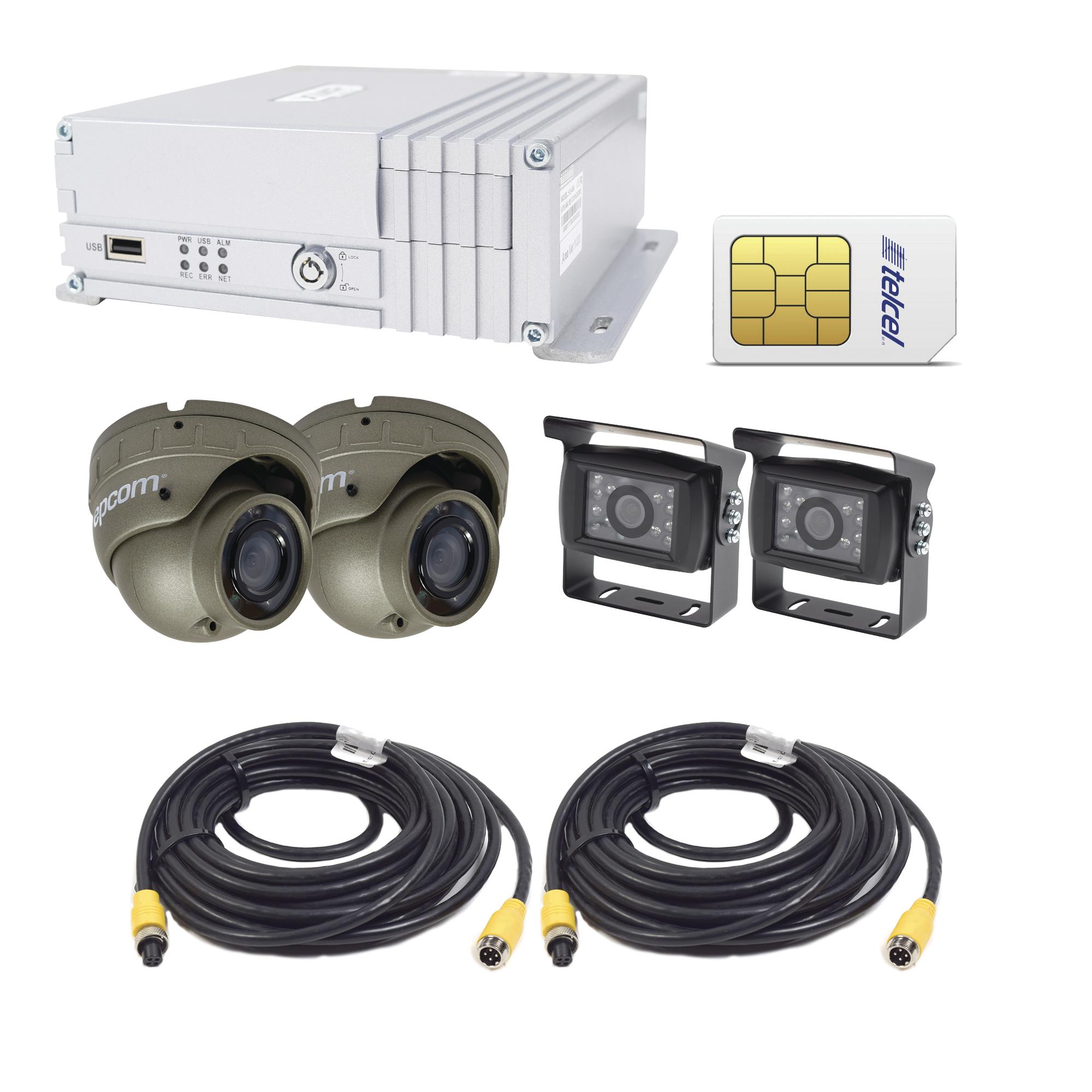 Sistema de videovigilancia móvil AHD todo en uno, incluye MDVR de 4 canales, 2 cámaras para interior AHD, dos cámaras para exterior AHD  e incluye sim de datos Telcel de 10G