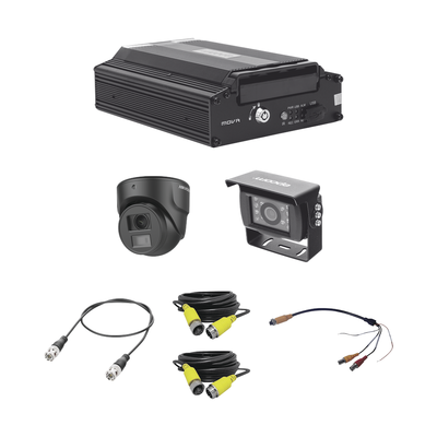 kit sitema de videovigilancia móvil AHD / incluye MDVR de 4 canales análogos AHD / 1 cámara domo para interior/ incluye 2 cámaras para exterior
