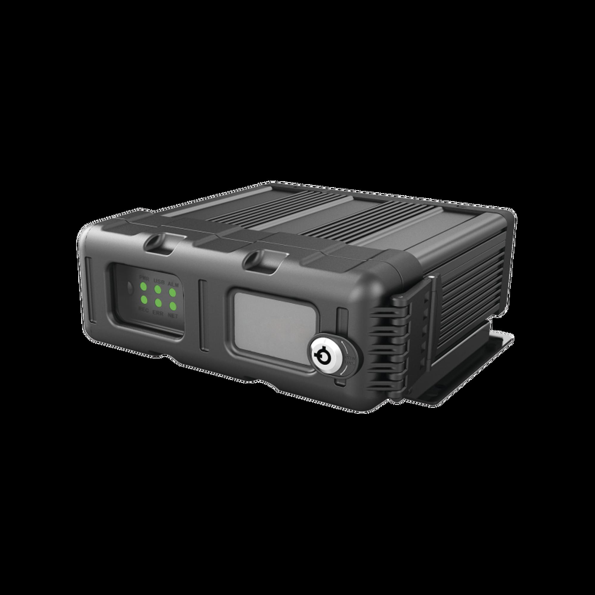 (NUBE EPCOMGPS) DVR móvil tribrido / almacenamiento en memoria  SD / soporta 4 canales AHD hasta 2MP + 1 canal IP hasta 2MP / Compresión de vídeo H.265,