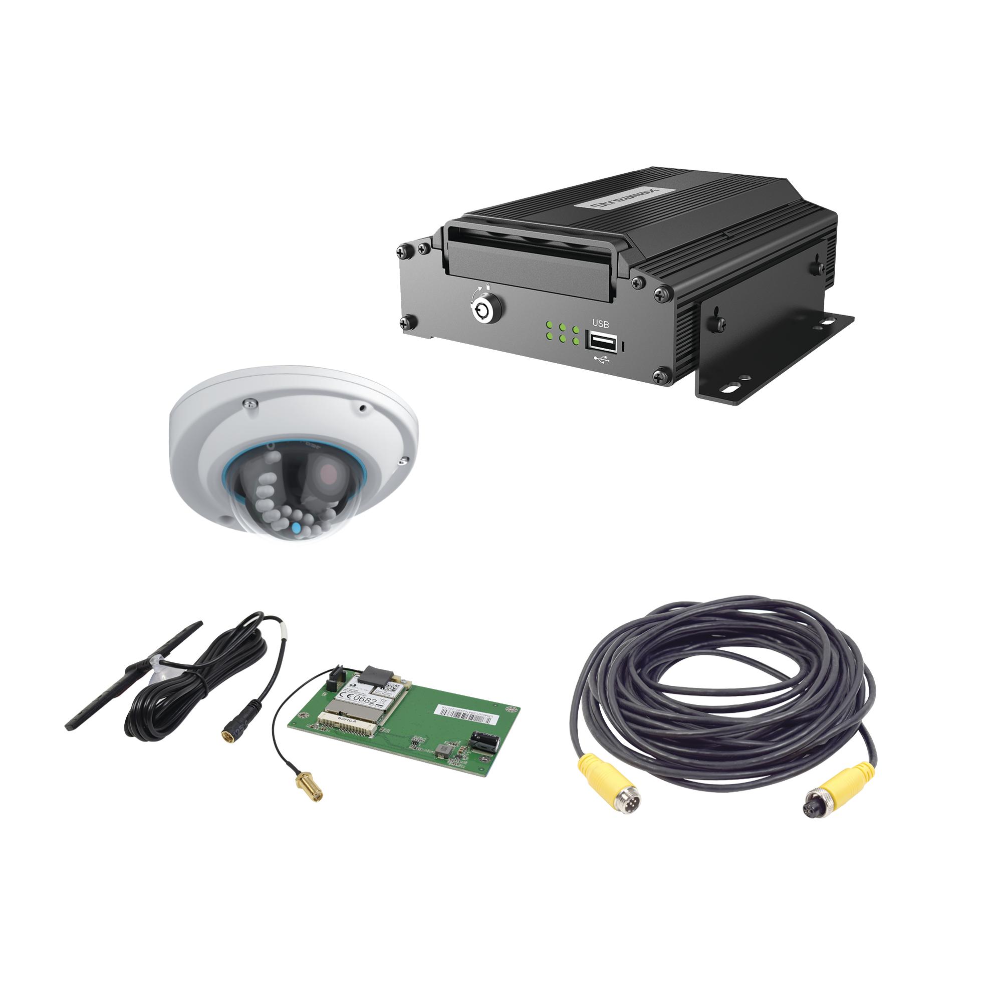 Sistema de videovigilancia Móvil AHD, incluye MDVR de 5 ch y cámara IP 1MP