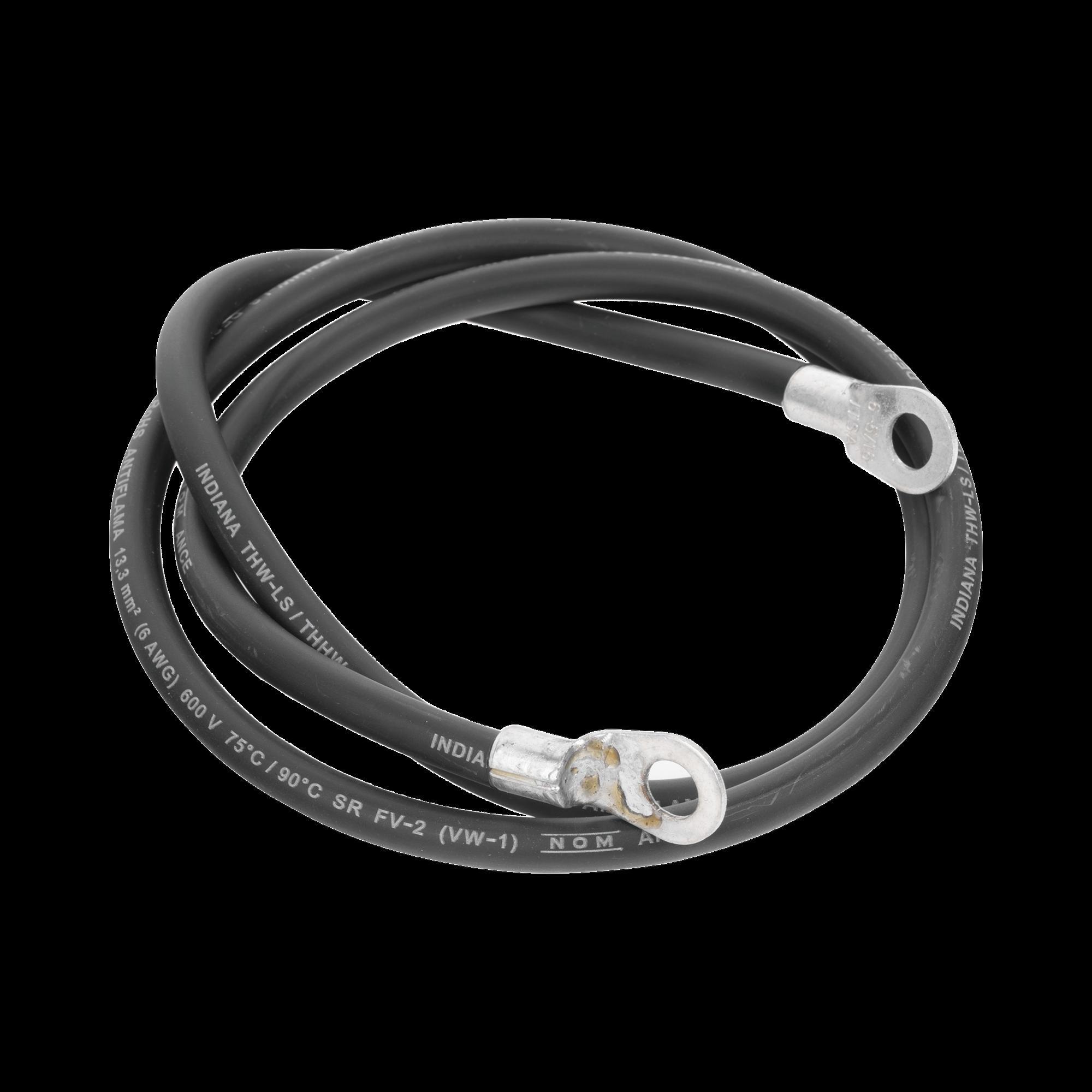 Jumper para Puesta a Tierra con Cable 6 AWG con Conectores de Ojo de 100 cm.