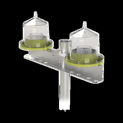 Lámpara Doble de Obstrucción Tipo L-810/ Autónoma (sistema solar incluido)/ Luz fija o Intermitente.