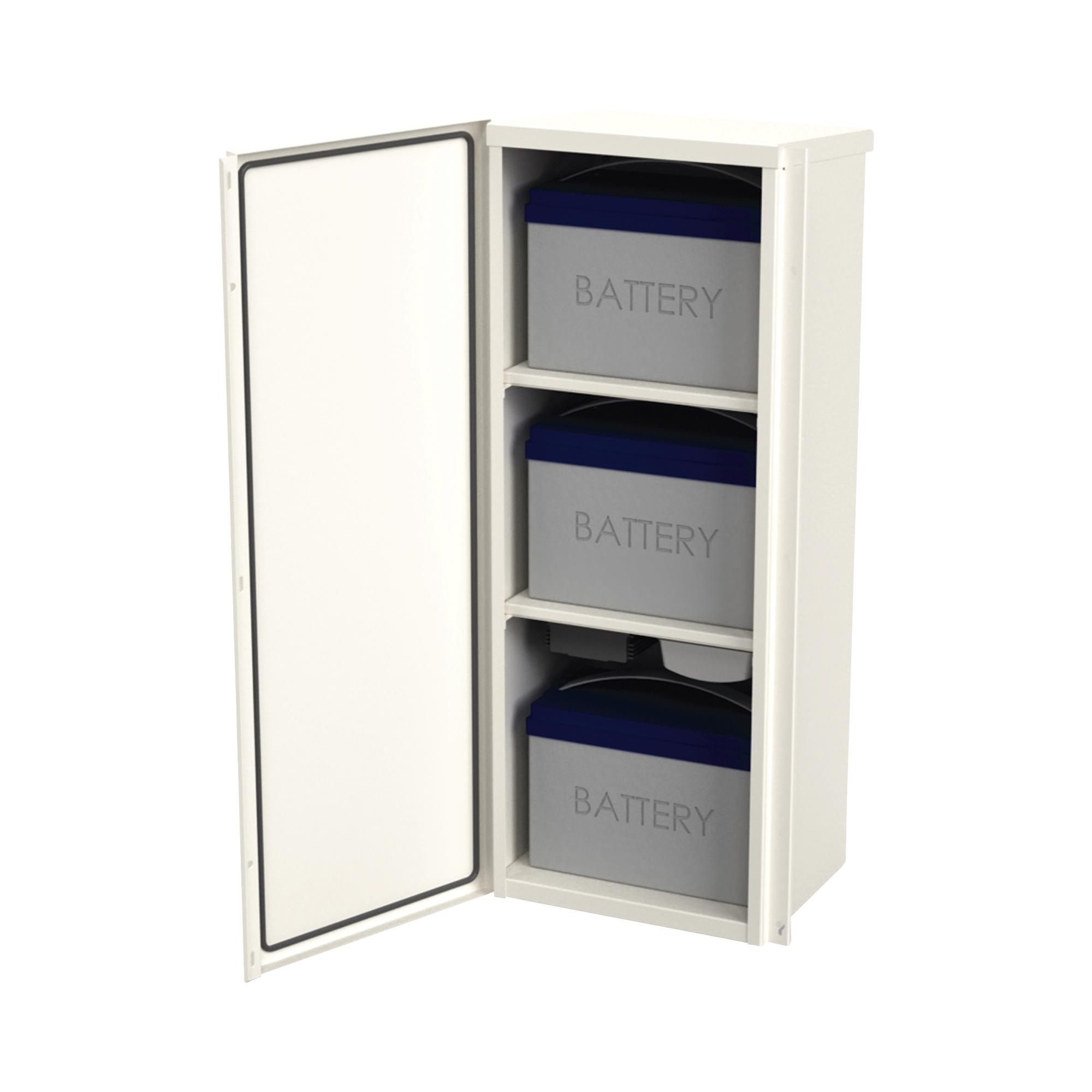 Gabinete Acero Galv. para 3 Bat. PL110D12. Puerta Sin Ventilación. Acc. de piso o poste No incluidos (400 x 1060 x 300mm).