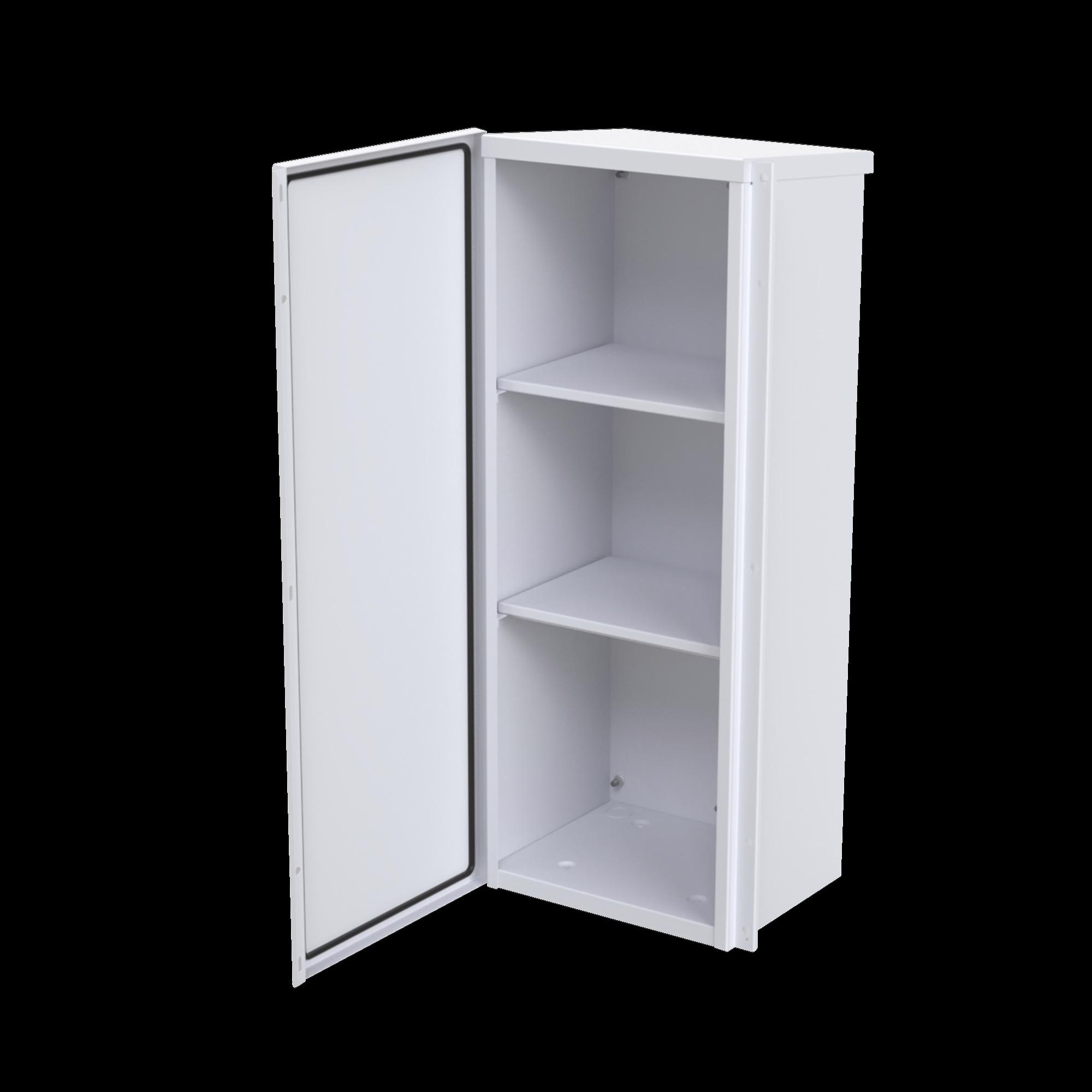 Gabinete Acero Galv. para 3 Bat. PL110D12. Puerta Sin Ventilacion. Acc. de piso o poste No incluidos (400 x 1060 x 300mm).