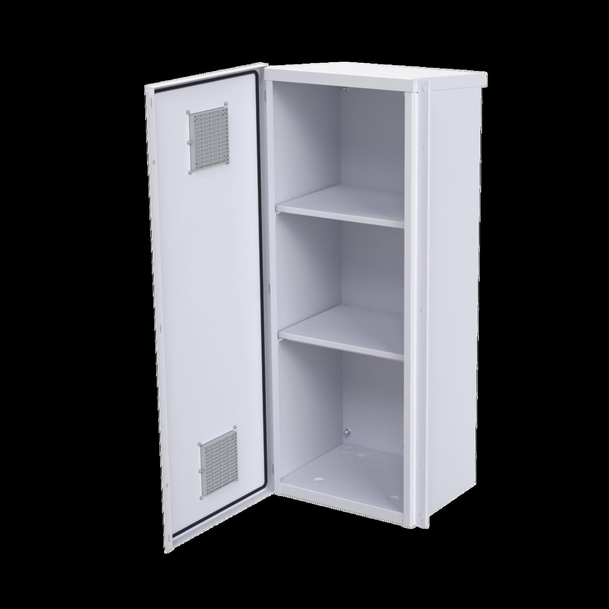 Gabinete Acero Galv. para 3 Bat. PL110D12. Puerta Ventilada. Acc. de piso o poste No incluidos (400 x 1060 x 300mm).